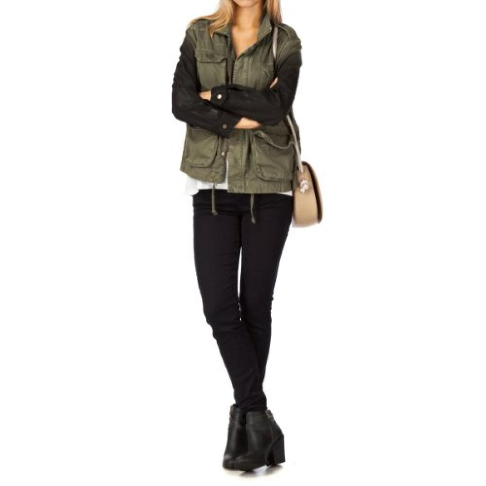 Current Elliott The Lone Soldier Ombre Coated Sleeves Jacket - Ombre Coated Army Green