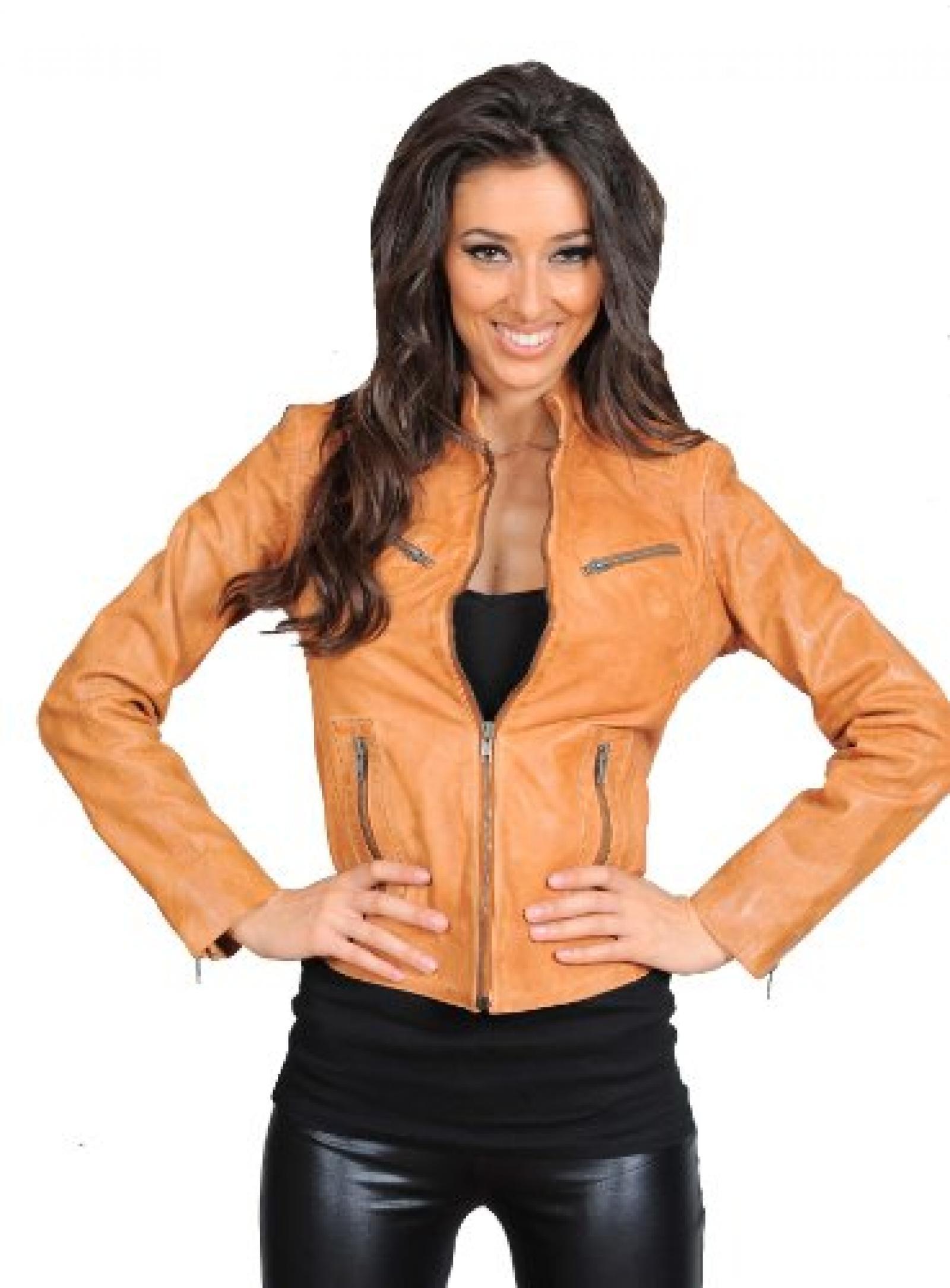 Motorrad Jacke für Damen aus echtem Leder Damen Motorradfahrer Reißverschluss Bis Jenny hellbraun