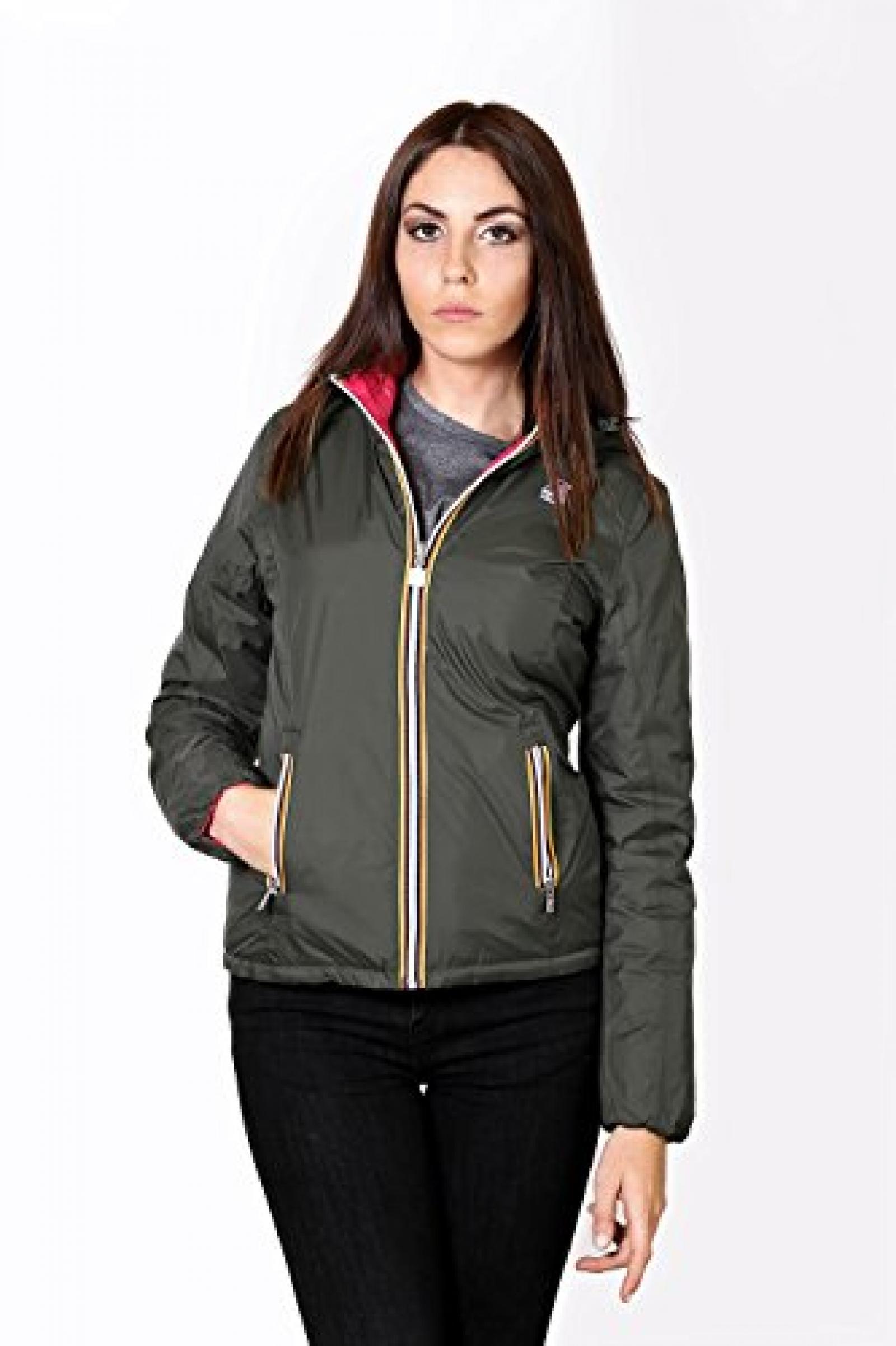 K-Way Piumino Donna Lily Thermo Plus Double Color Verde Militare-Fuxia Tg S