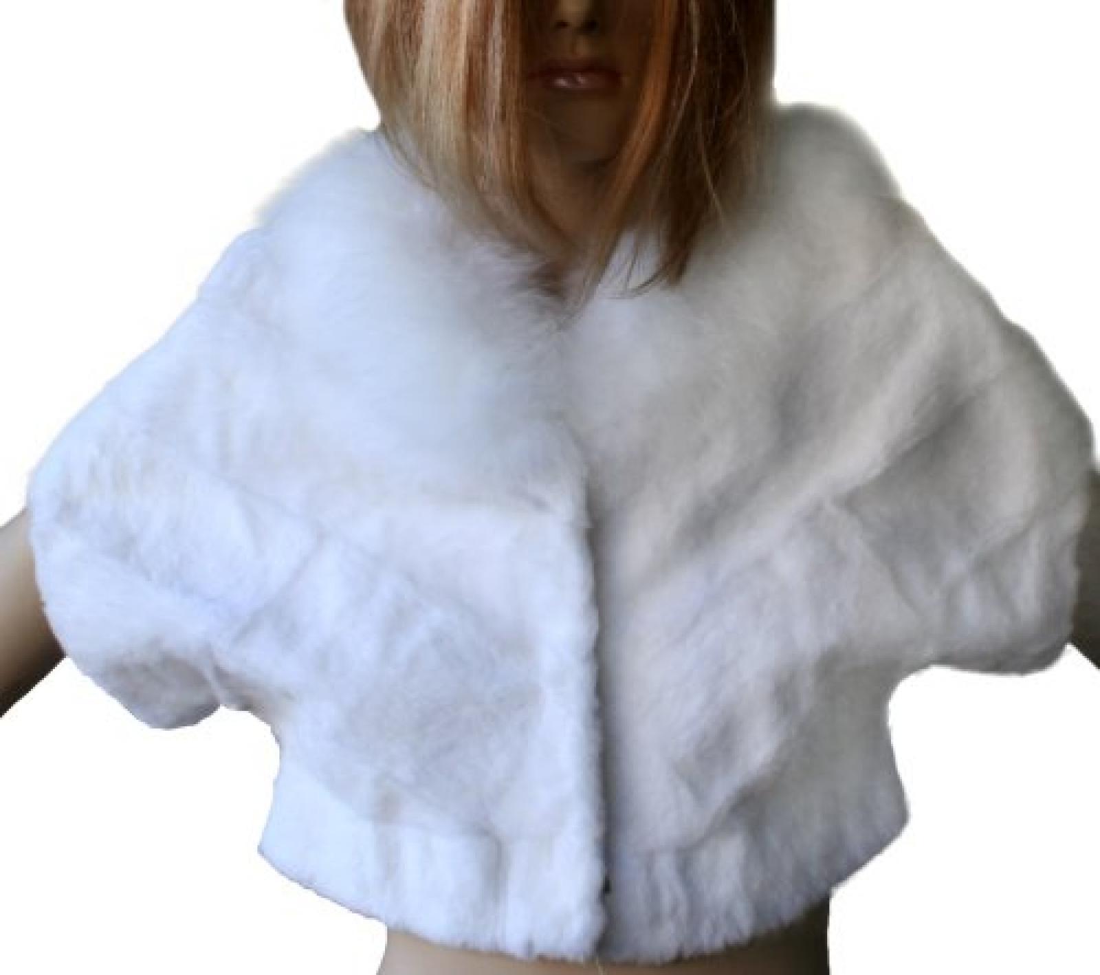 Waooh - Fashion - White Rabbit Fur -Jacke Fox -Kragen und Waooh