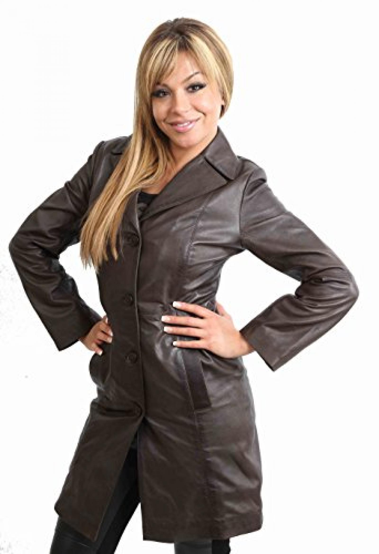 Neu Damen Lederjacke für Frauen MACEY Braun Mantel