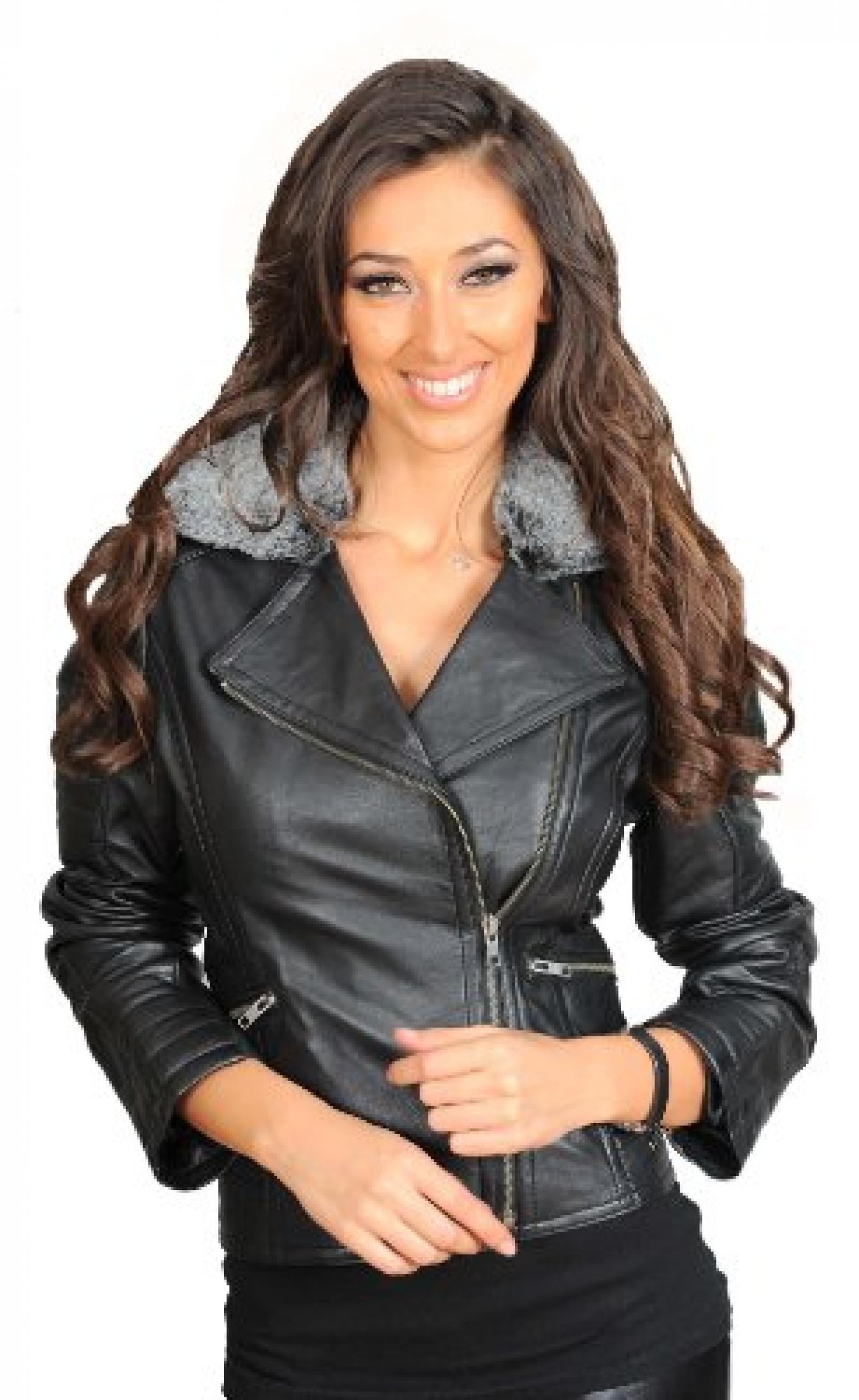 Damen Biker Stil ausgestattet Lederjacke Frauen Pelzkragen ausgestattet Garment Gia Schwarz