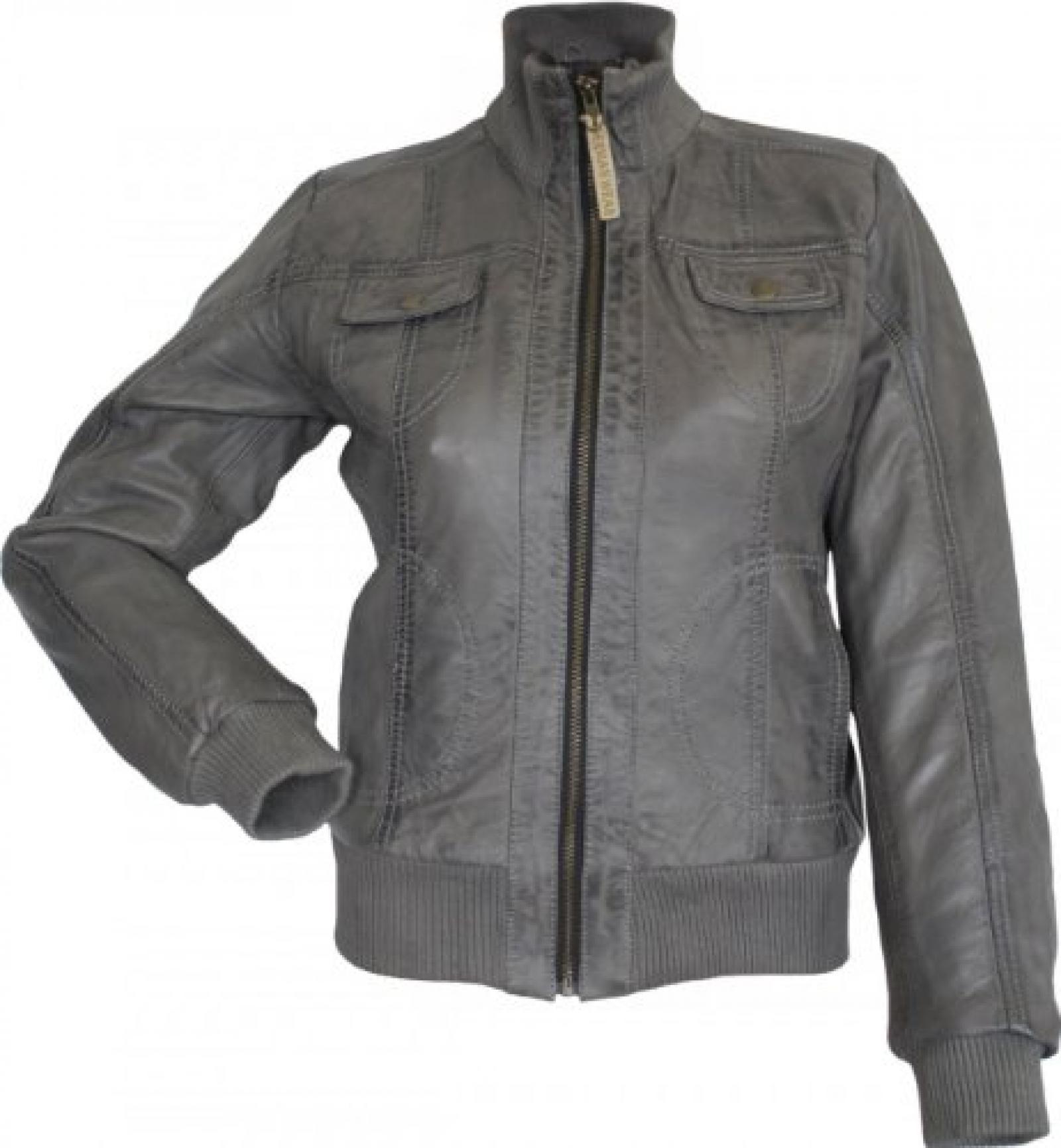 Damen Lederjacke Trend Fashion echtleder Jacke aus Lamm Nappa Leder grau