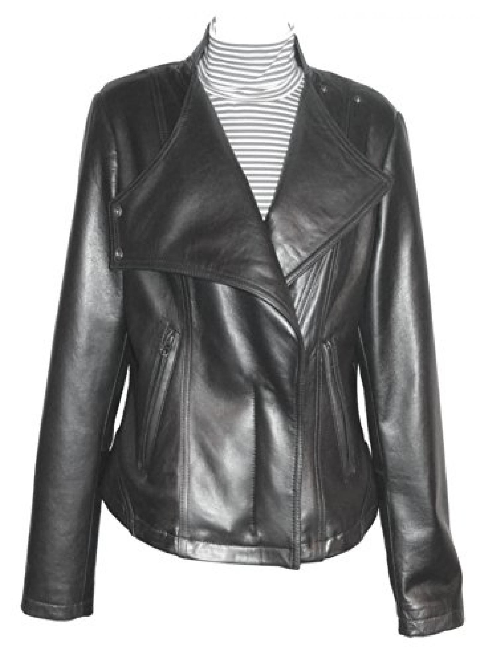 Paccilo PLUS SIZE Women 4093 Leather Moto Jacket Open Bottom Stand Up Collar
