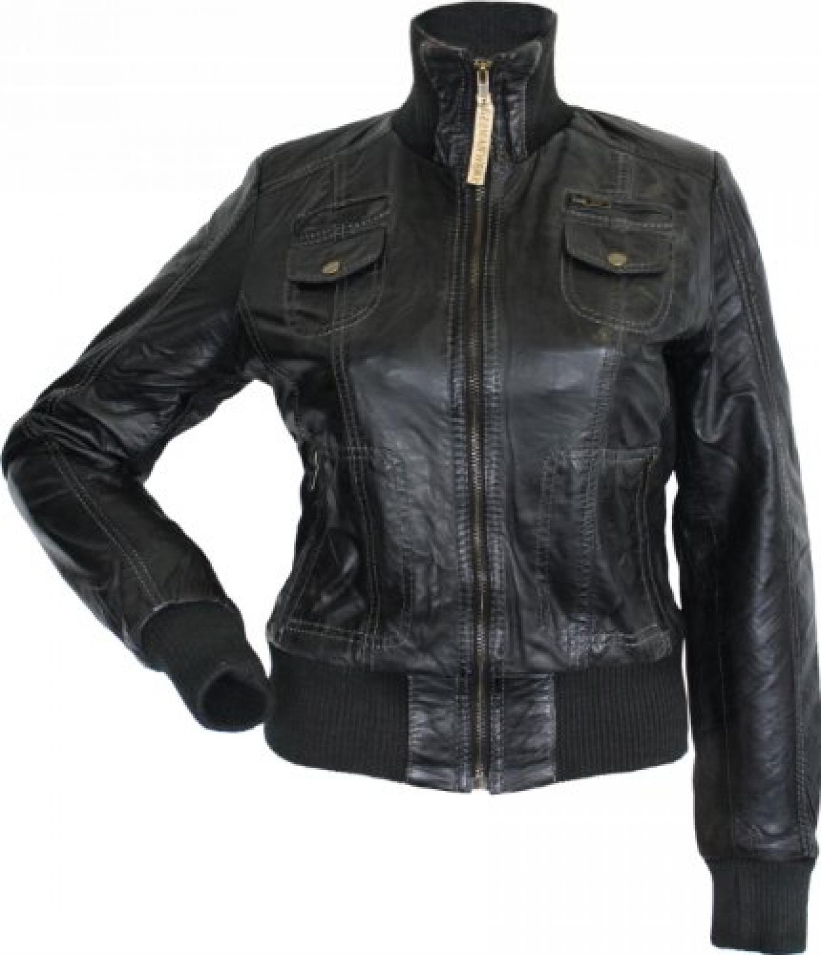 Damen Lederjacke Trend Fashion echtleder Jacke aus Lamm Nappa Leder schwarz
