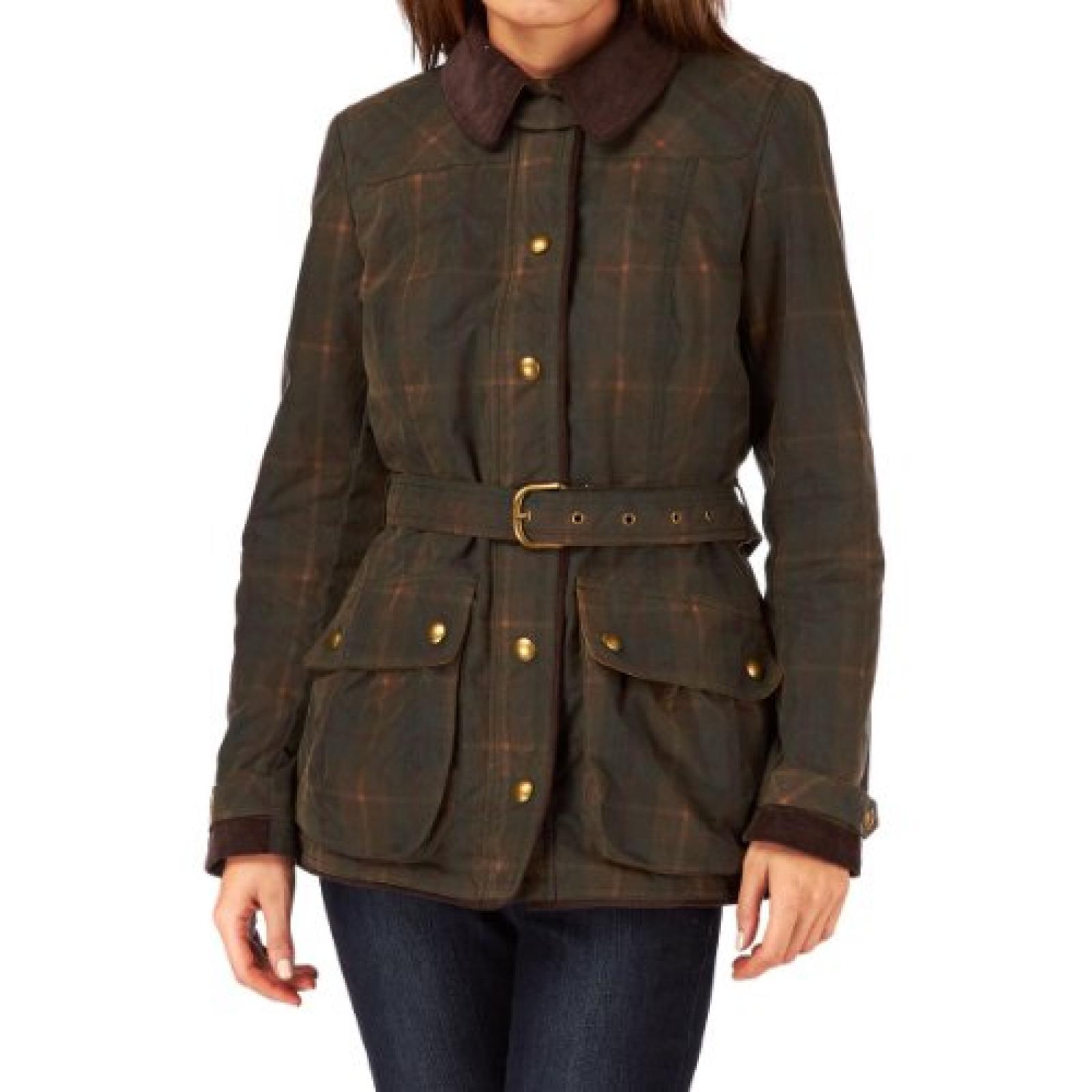 Joules Ladies? Milbury Check Wax Jacket ? Brown Check P_MILBURYCHK