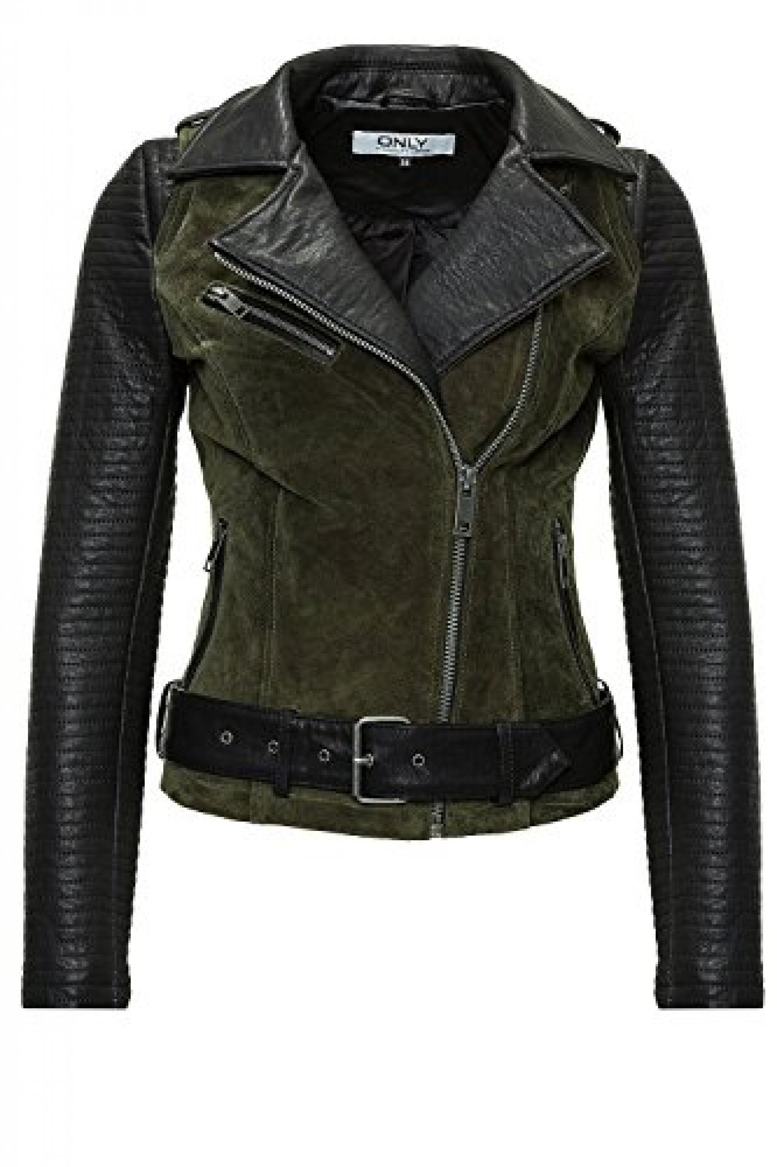 Only Damen Lederjacke Brooklyn Suede Mix Biker OTW