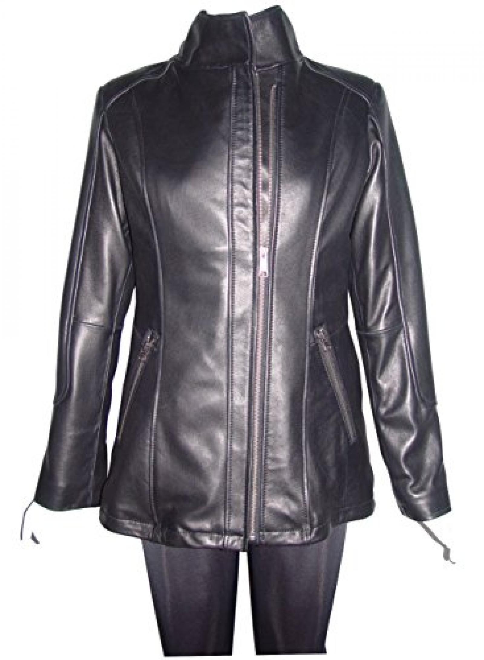 Nettailor Women PLUS SIZE 4197 Soft Leather Casual Moto Jacket Zip Front