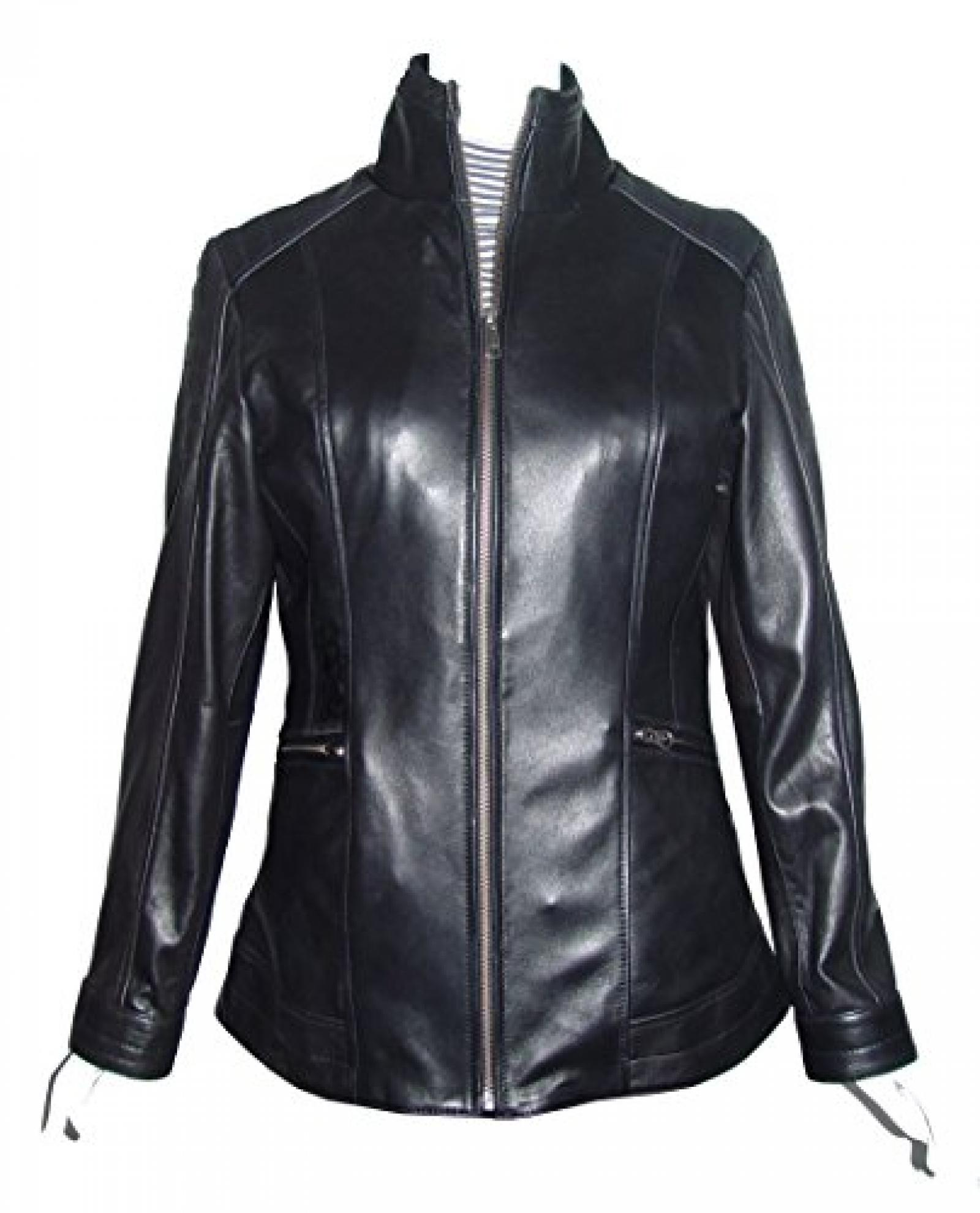 Nettailor Women 4189 Soft Leather Simple Easy Rider Jacket Long China Collar