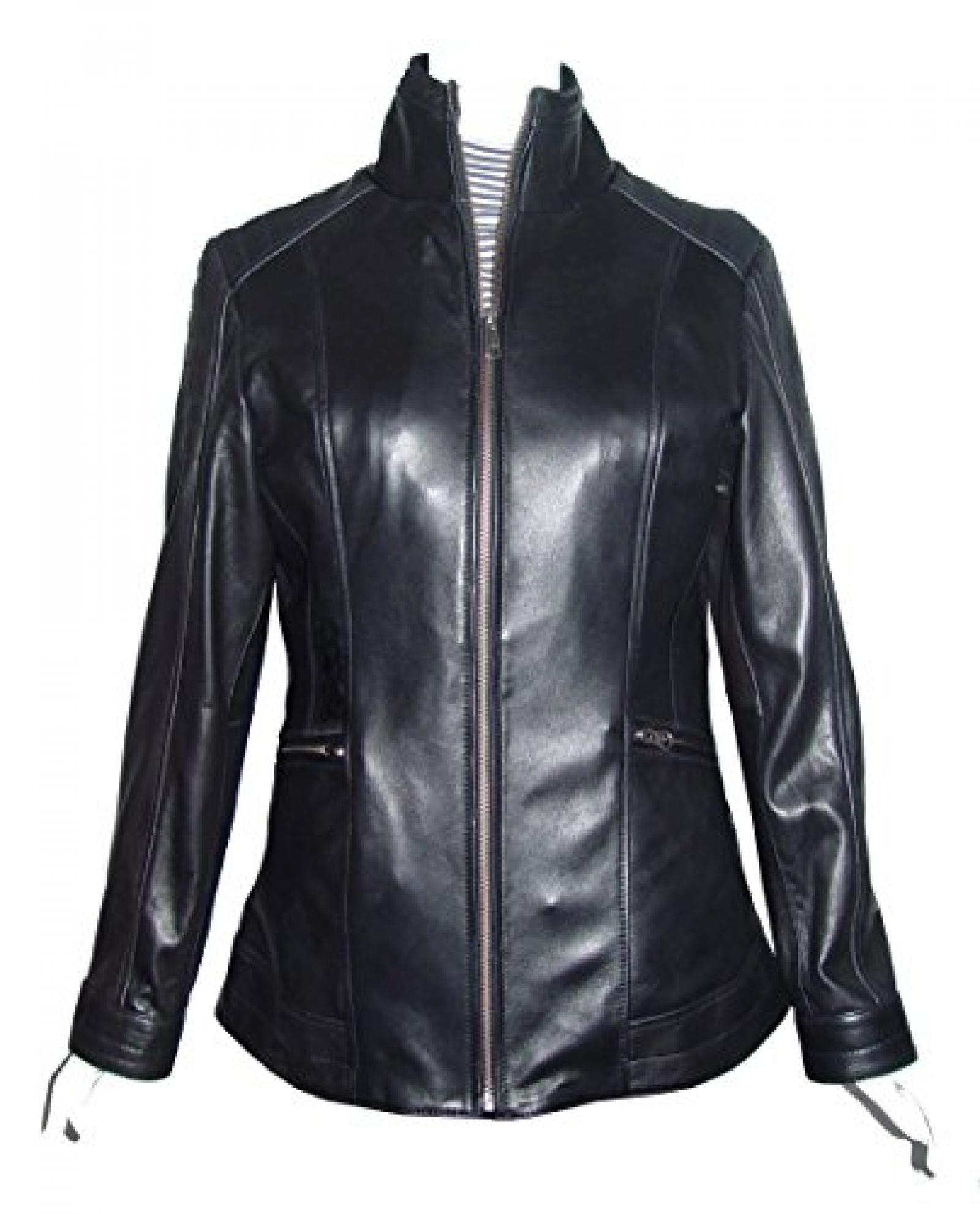 Nettailor Women PETITE SZ 4189 Soft Leather Simple Easy Rider Jacket Long