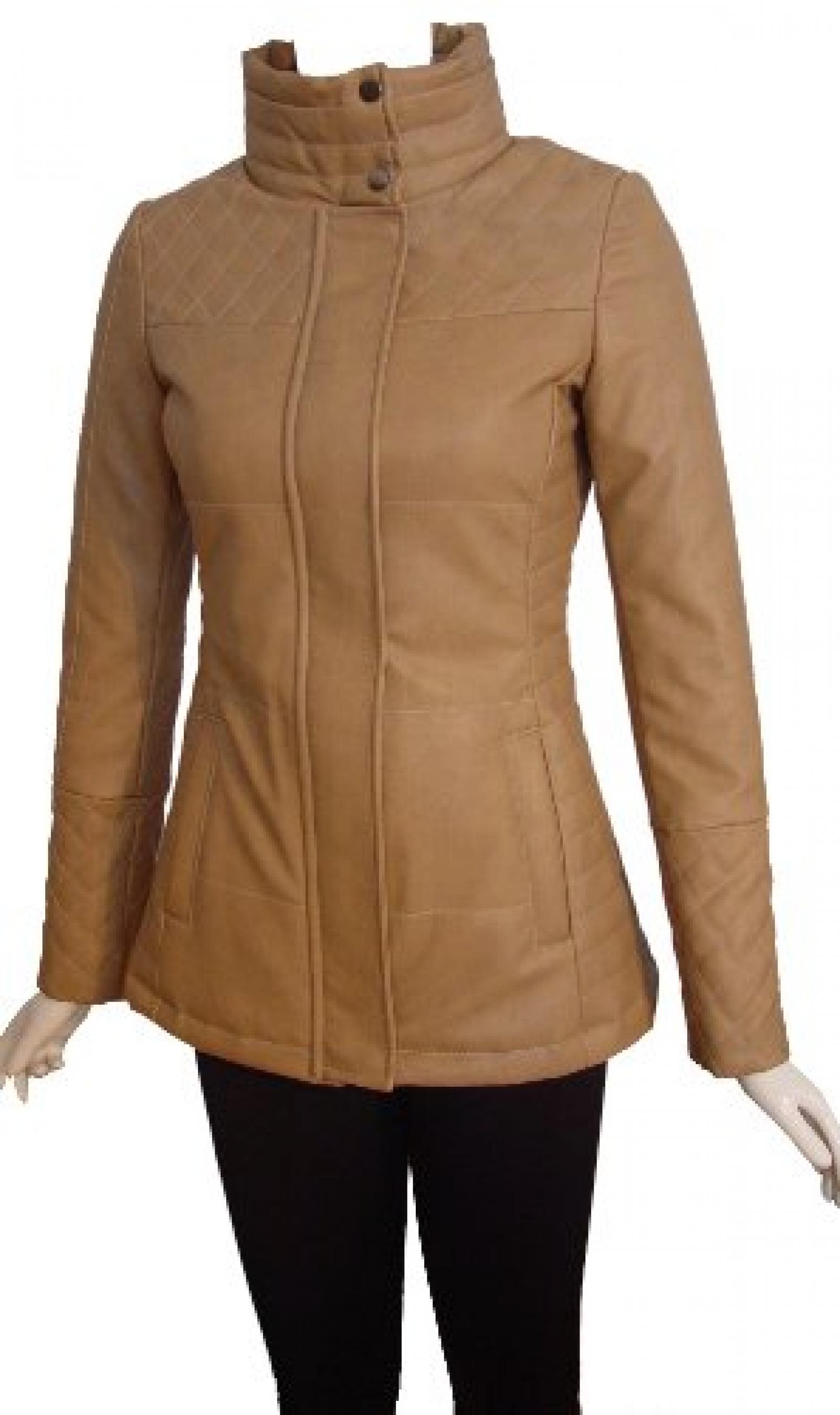 Nettailor Women 4204 Leather Casual Jacket Placket Zip Front Welt Pocket Quilt