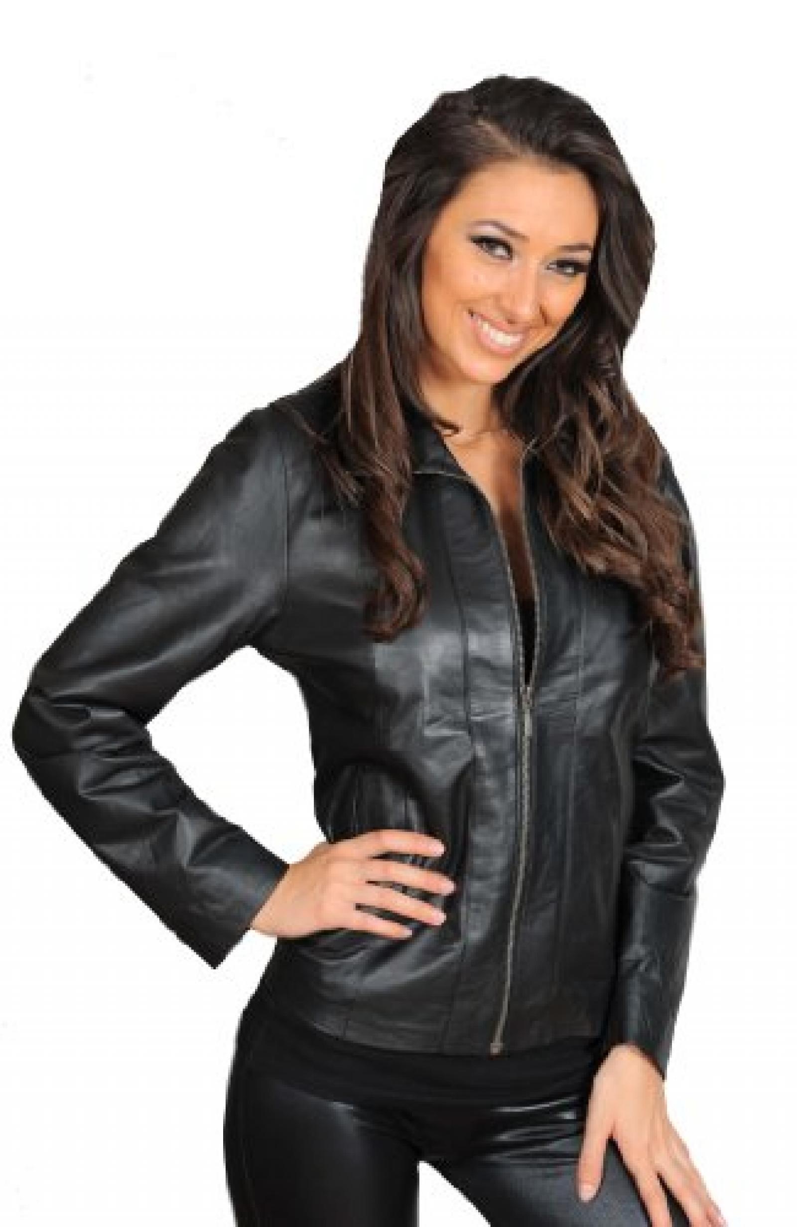 Klassische Einbau Zip Up Biker Echtleder-Jacke für Frauen Nicole Schwarz