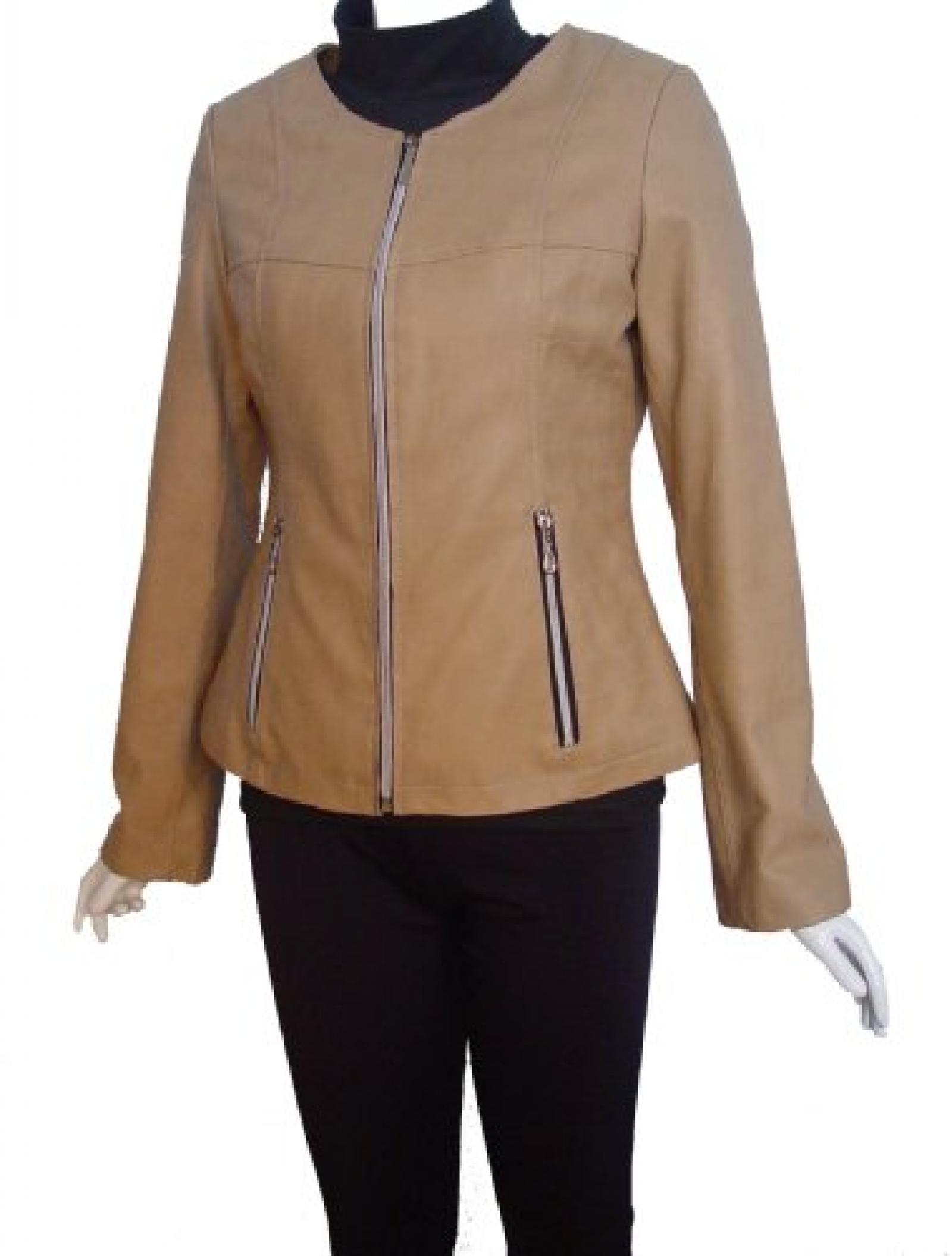 Nettailor FREE tailoring Women 4067 Leather Moto Jacket Collarless