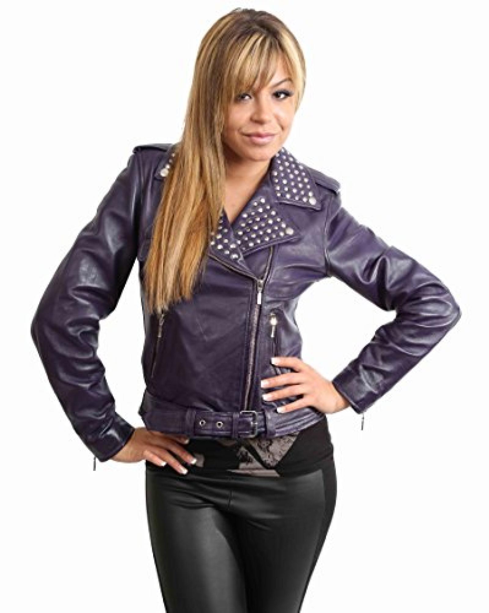 Damen Motorradfahrer Lederjacke neuen Biker Jacke SALLY dunkel lila