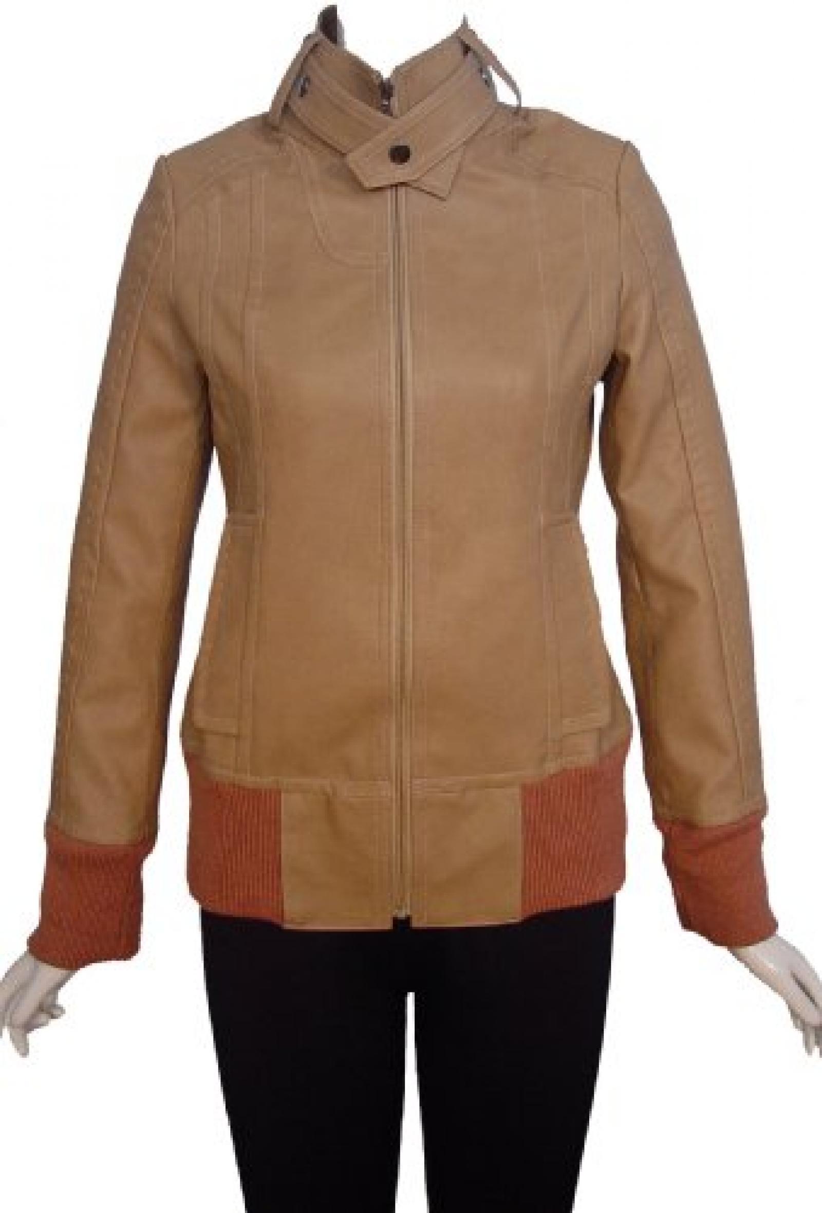 Nettailor Women PLUS SIZE 4206 Soft Leather Casual Short Jacket Zip Front Knit