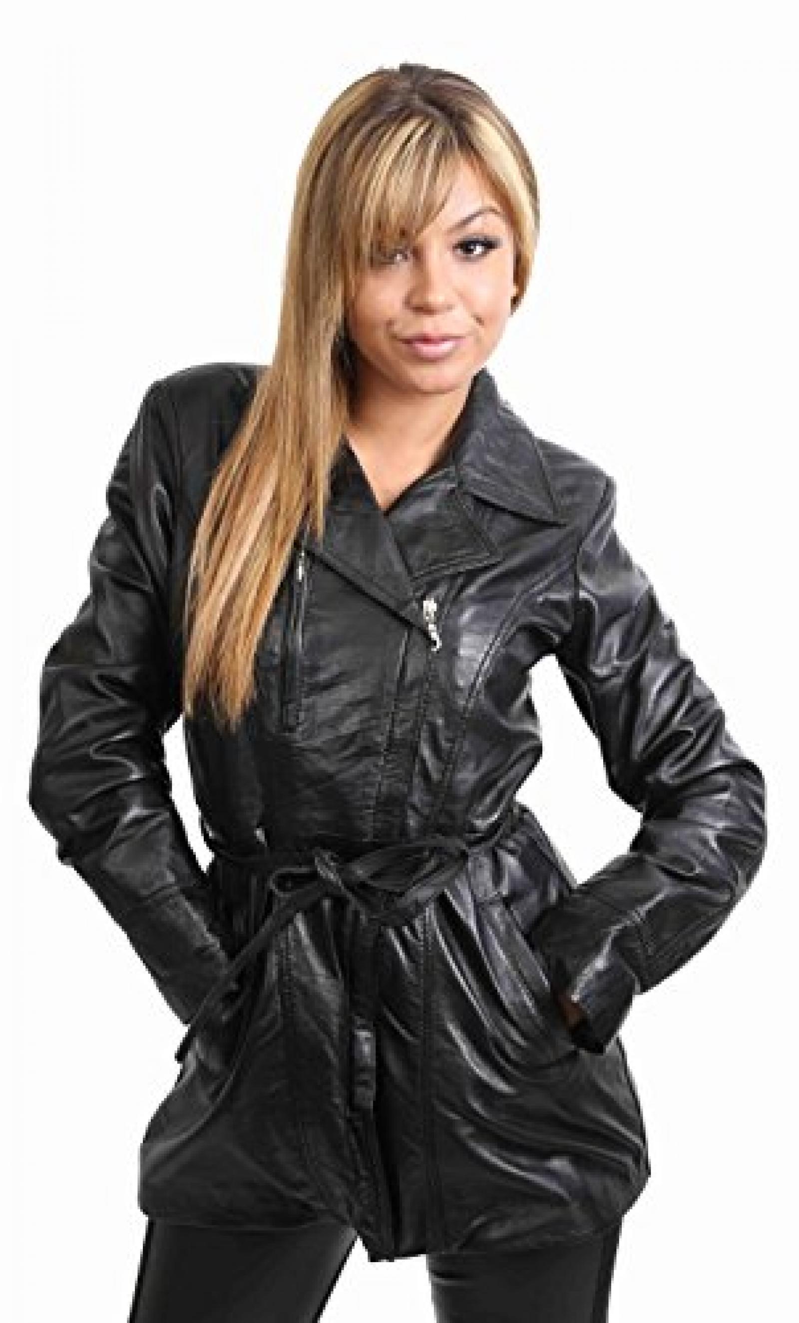 Damen Lederjacke für Frauen mit Gürtel ABY Schwarz