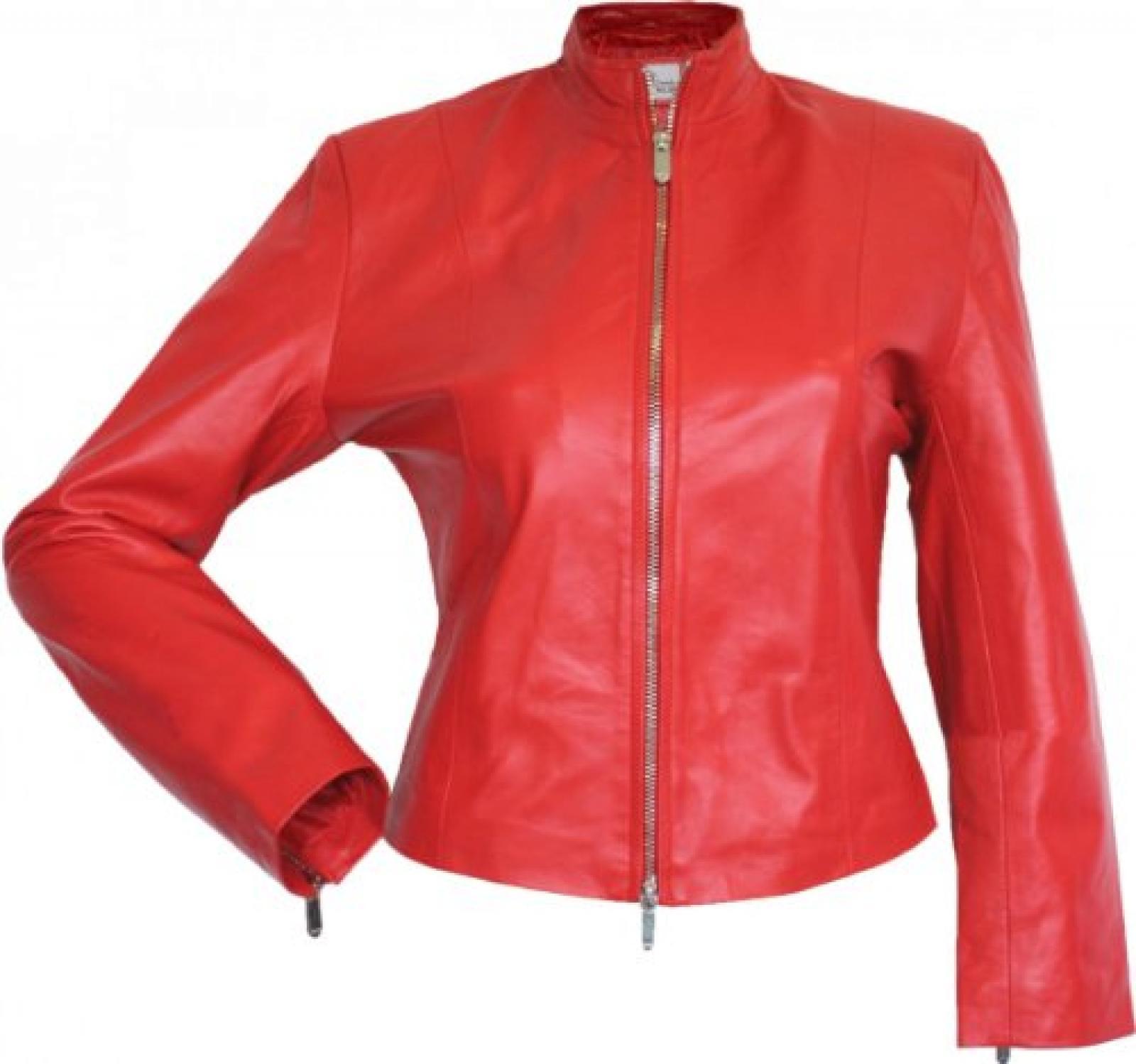 Damen Lederjacke Trend Fashion echtleder Jacke aus Lammnappa Leder Rot