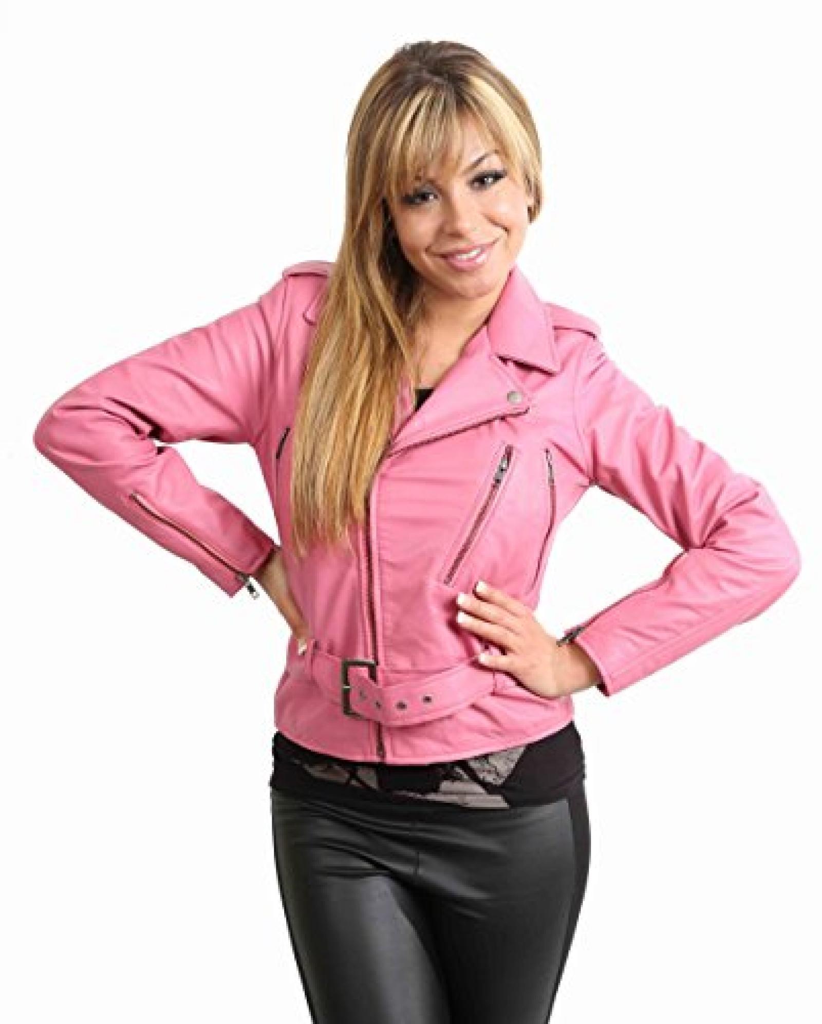 NEU AKTUELLE Damen kurze Biker Lederjacke für Frauen ABBI Pink Rosa