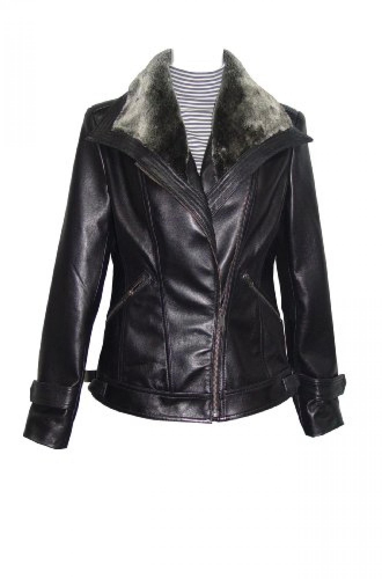Nettailor Women 4061 Lamb Leather Motorcycle Jacket Fake Fur Collar