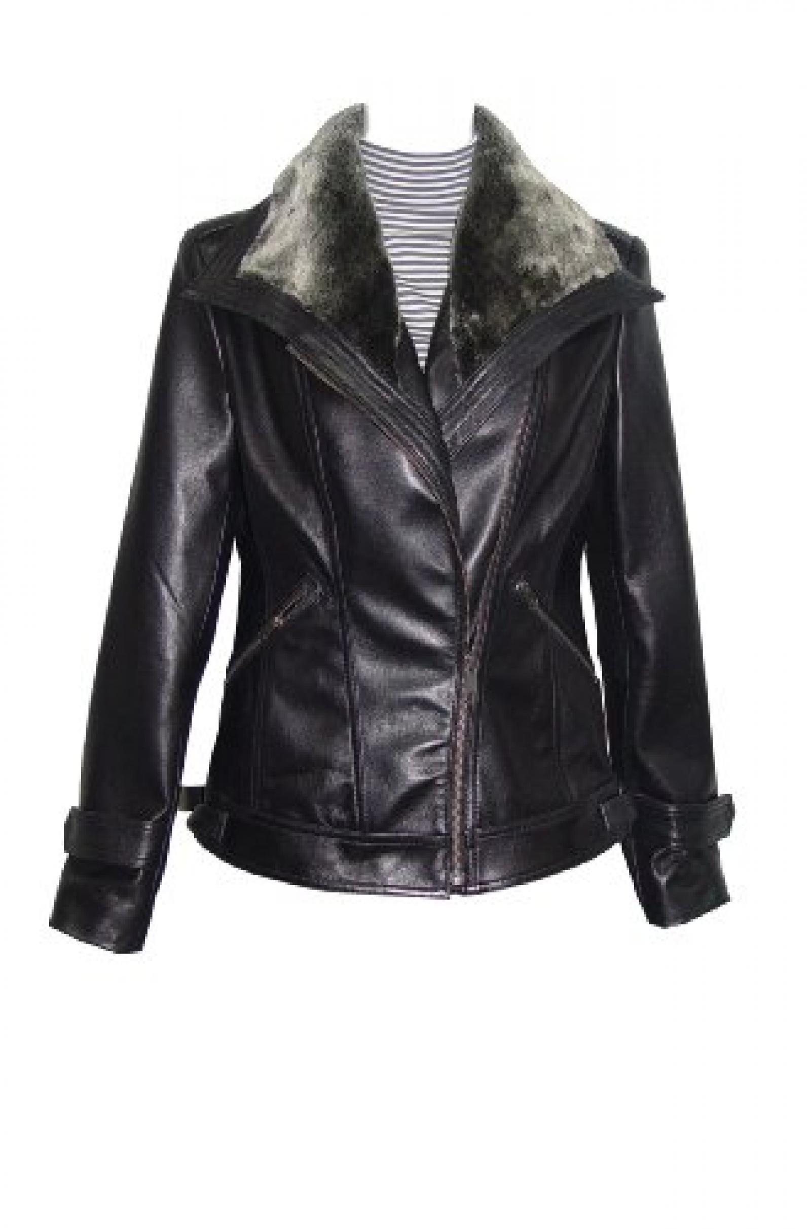 Nettailor Women PETITE SZ 4061 Lamb Leather Motorcycle Jacket Fake Fur Collar