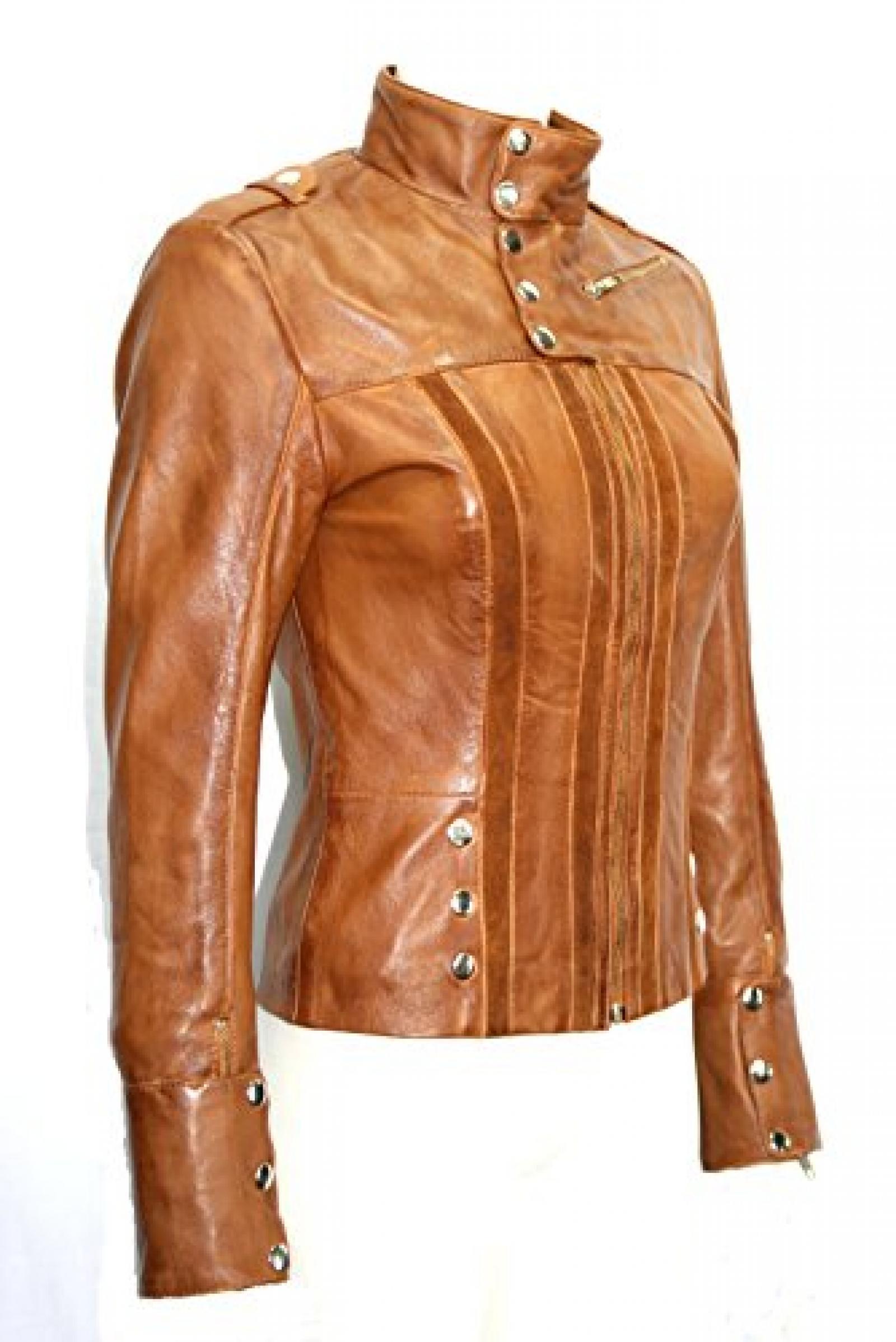 Damen Short Biker Stil Tan ausgestattet Weiche Echtlederjackemit Veloursleder-Streifen