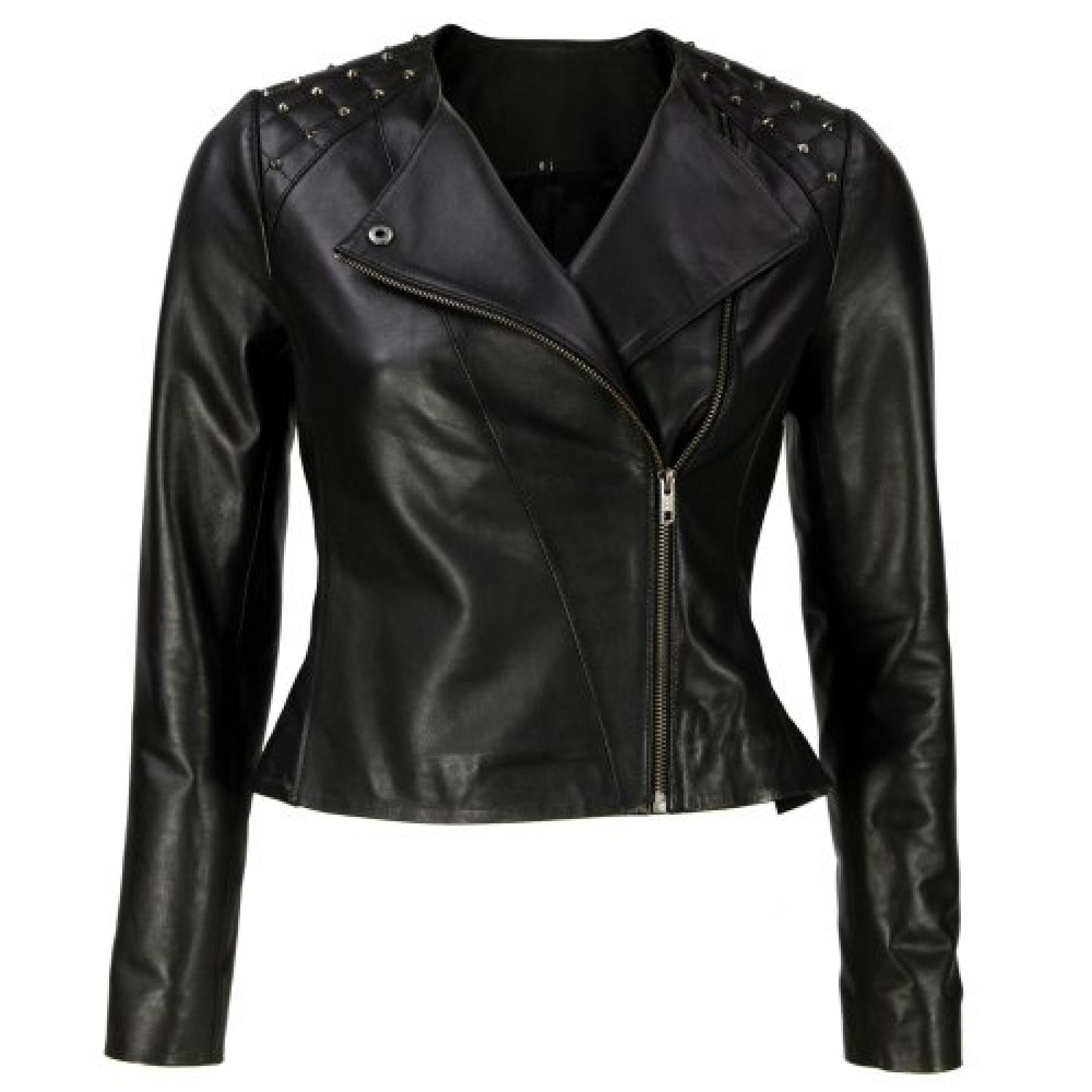 VIPARO Black Silver Studded Asymmetrical Biker Lambskin Leather Jacket - Jenna
