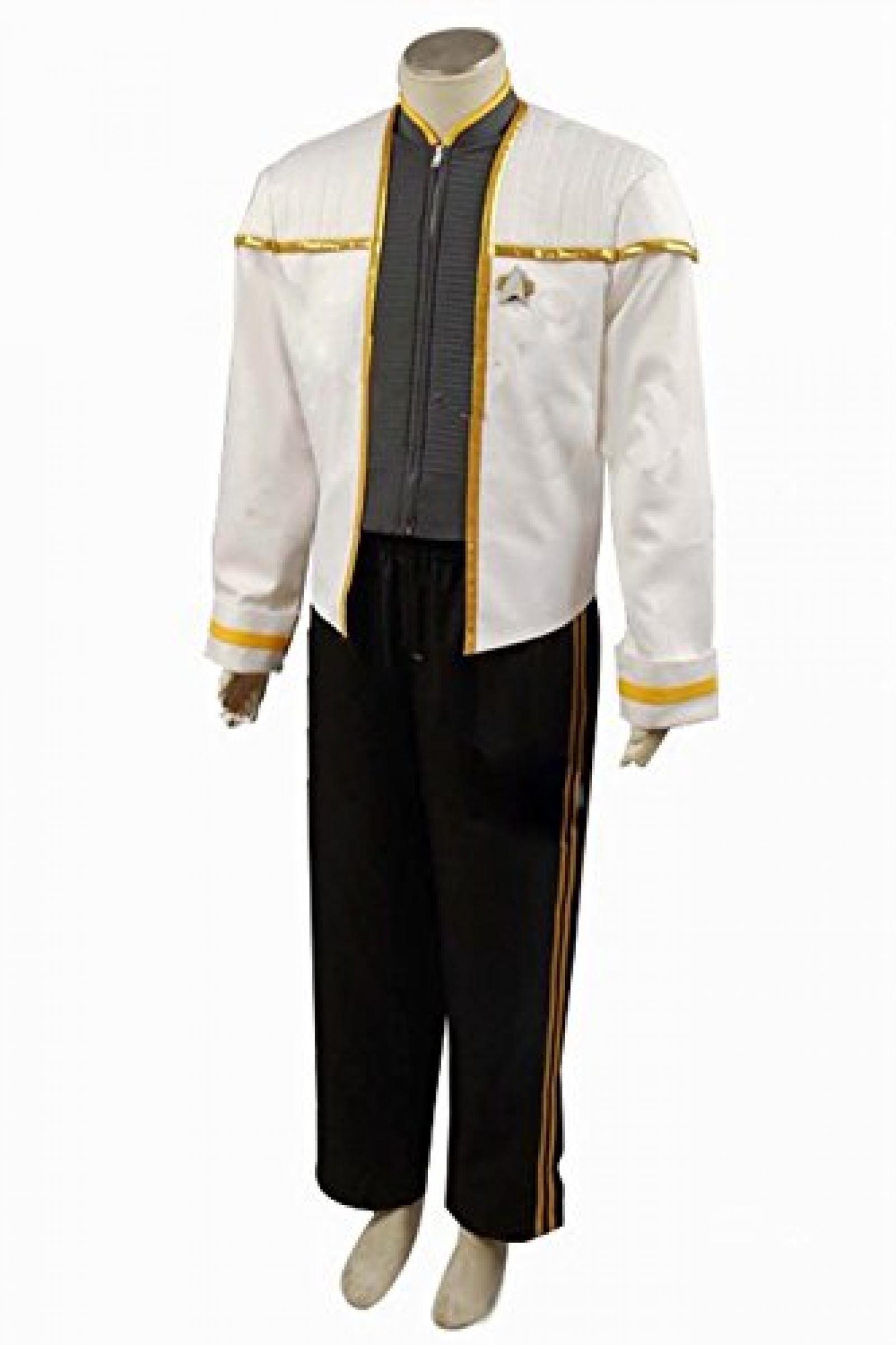 Star Trek Insurrection Nemesis White Gold Mess Dress Uniform Cosplay Kostuem