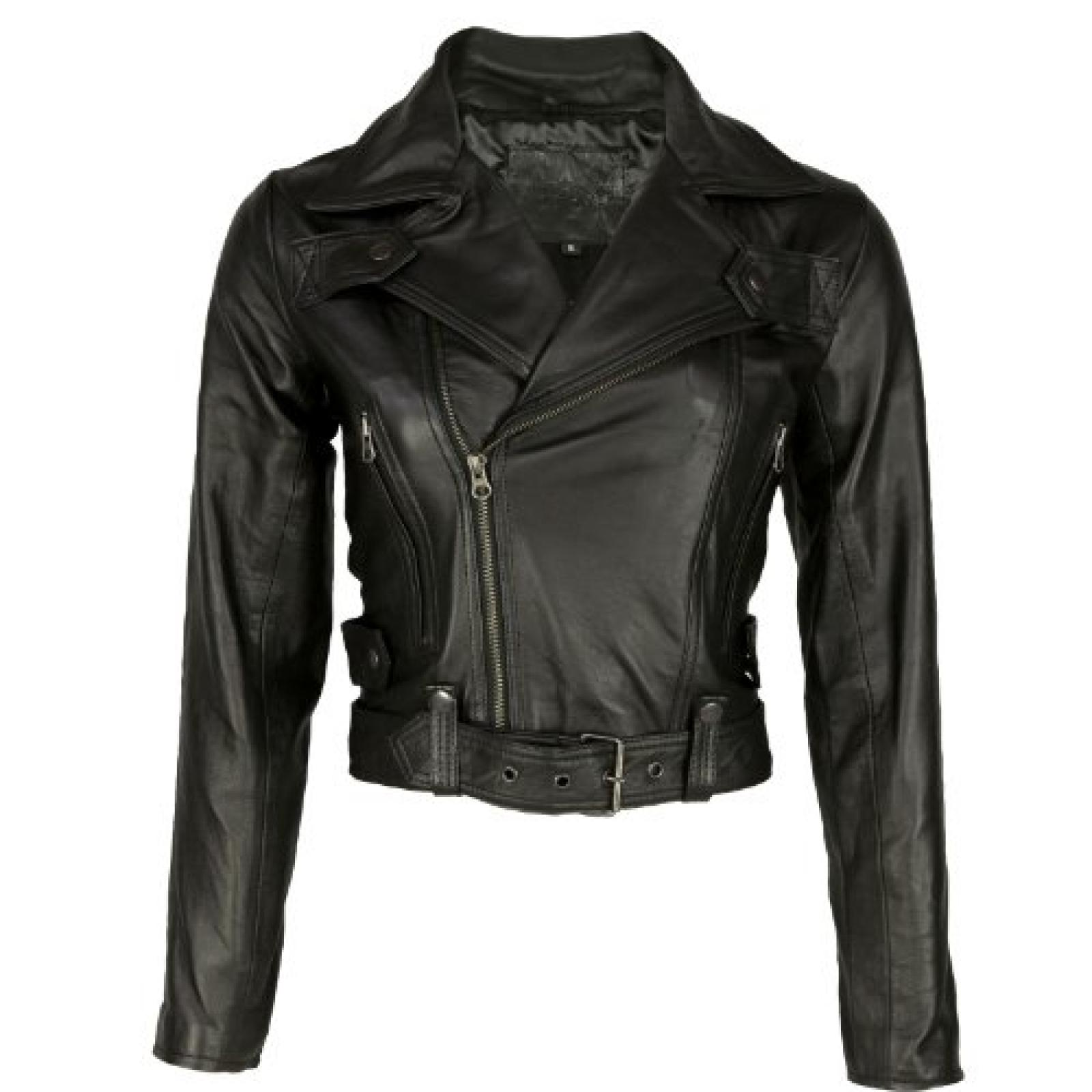 VIPARO Womens Black Lambskin Quilted Biker Leather Jacket - Kendra