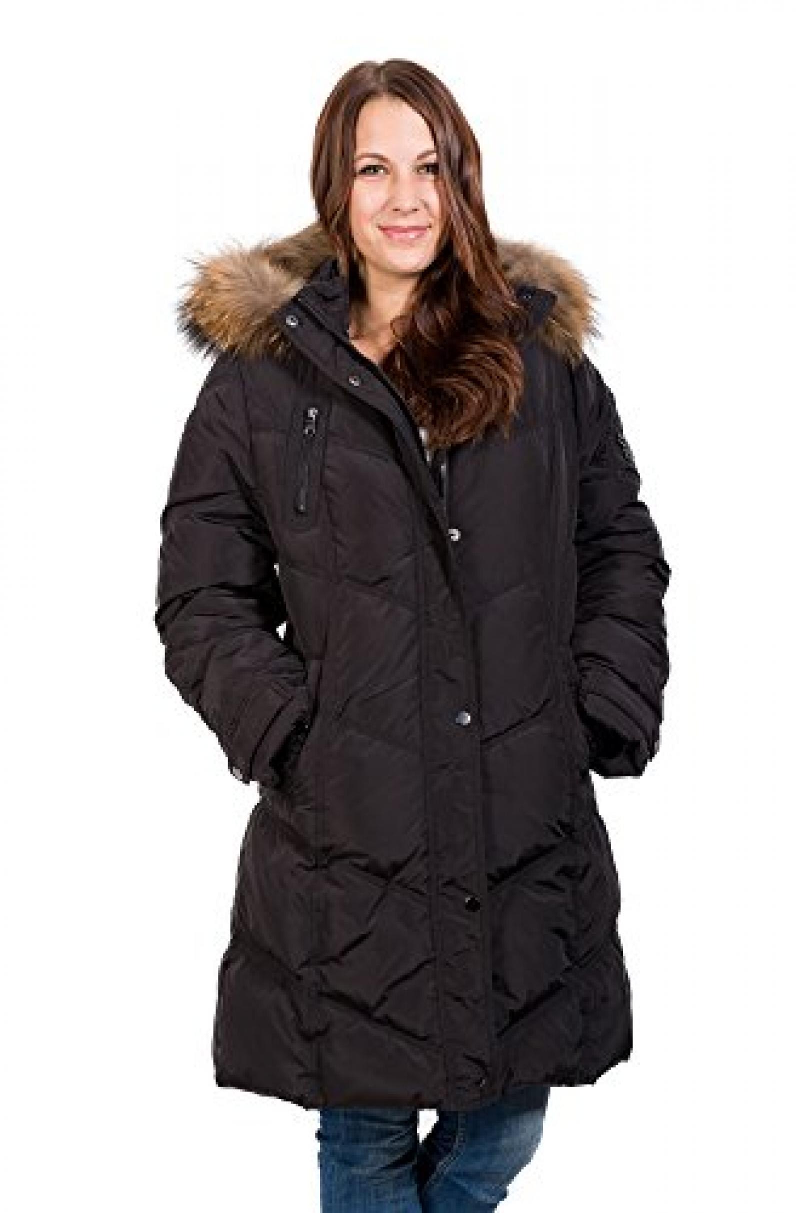 Tolle warme Daunenjacke mit Fellkragen von Saki in cooler Form Farbe black