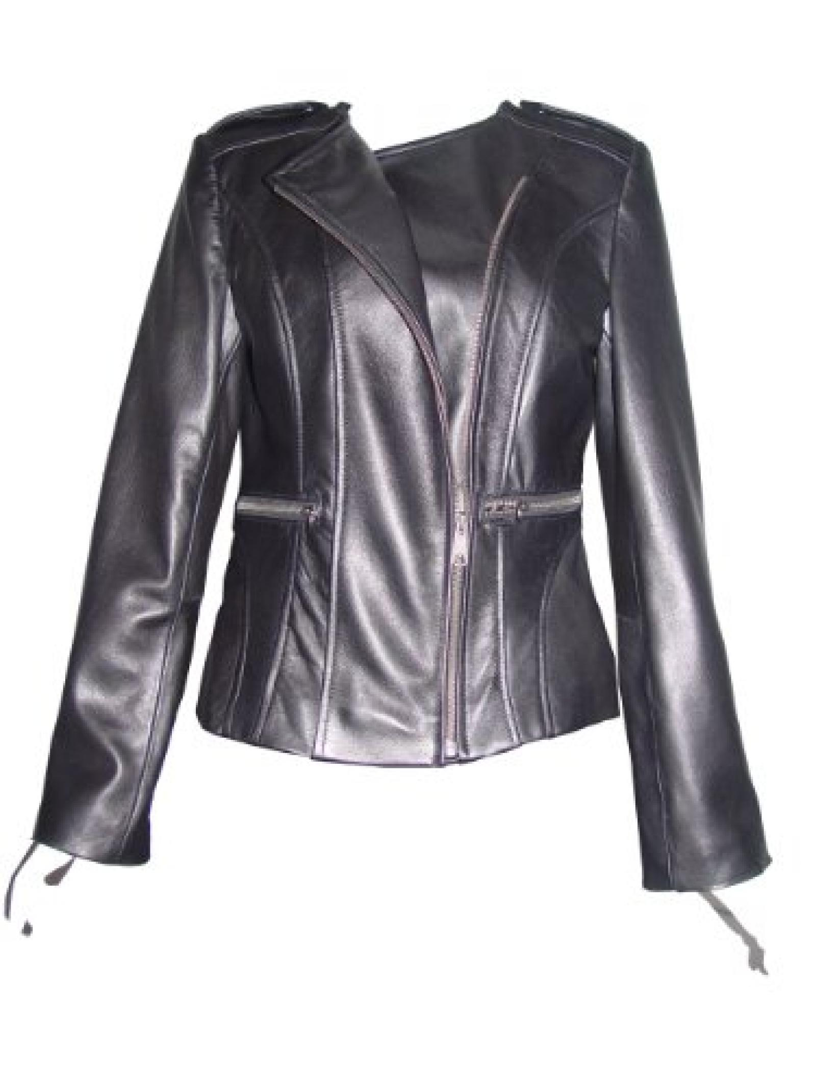 Nettailor FREE tailoring Women PLUS SIZE 4069 Leather Moto Jacket Collarless