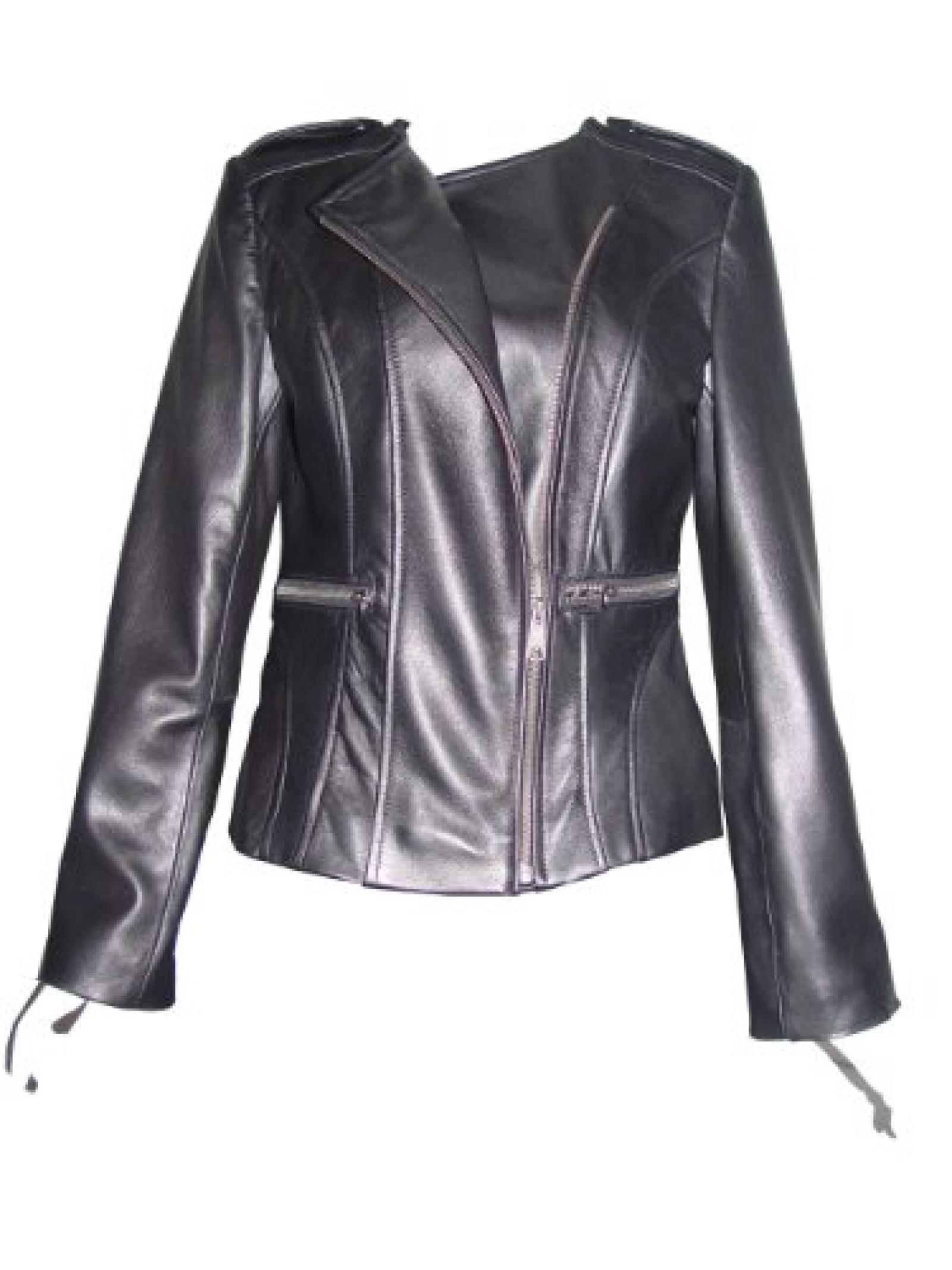 Nettailor FREE tailoring Women PLUS SIZE 4069 Leather Moto Jacket Collarless
