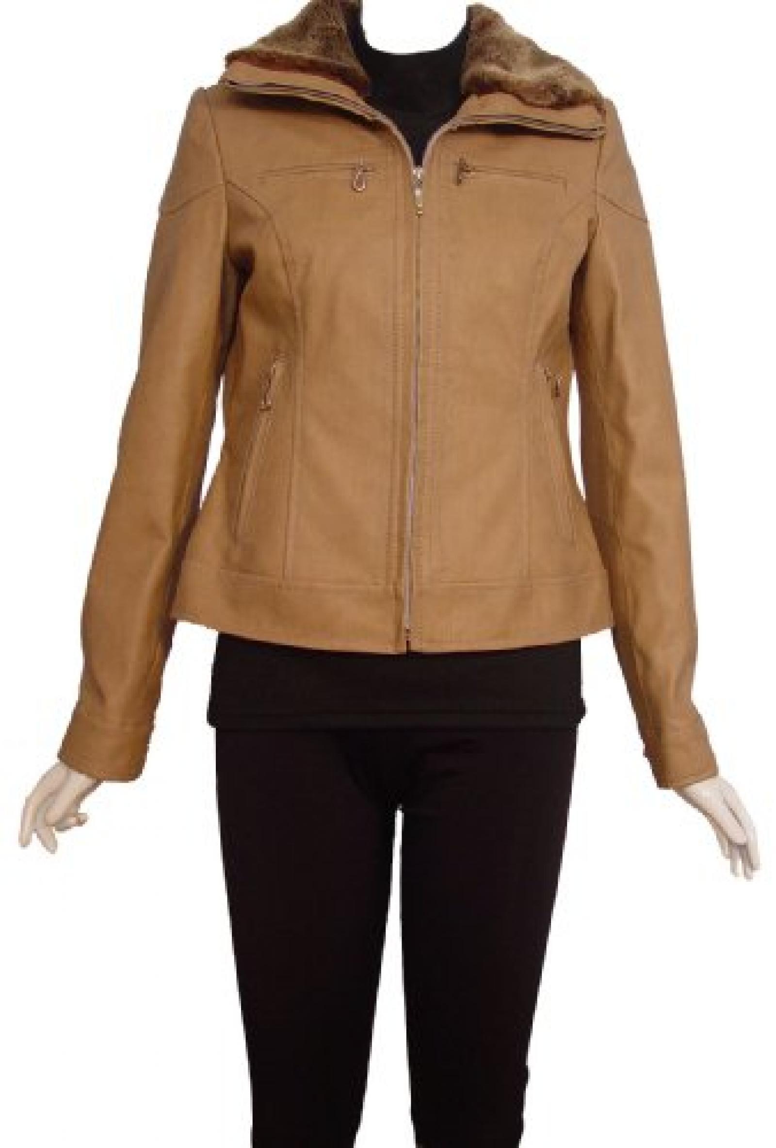 Nettailor Women PETITE SZ 4088 Lambskin Leather Casual Jacket Faux Fur Collar
