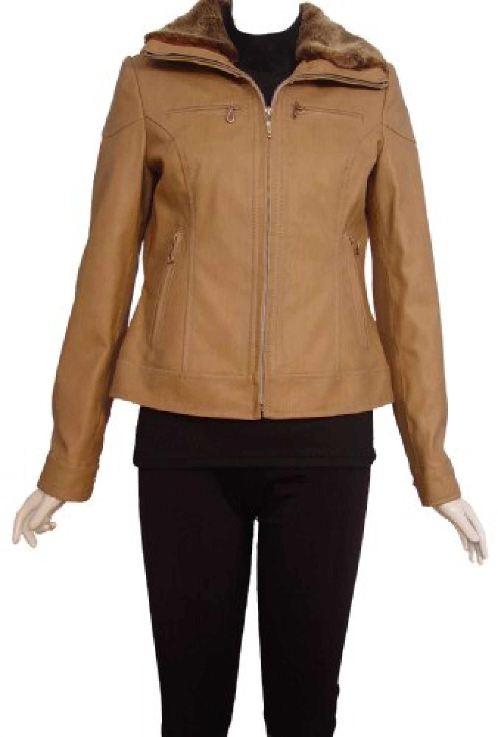Nettailor Women PLUS SIZE 4088 Lambskin Leather Casual Jacket Faux Fur Collar