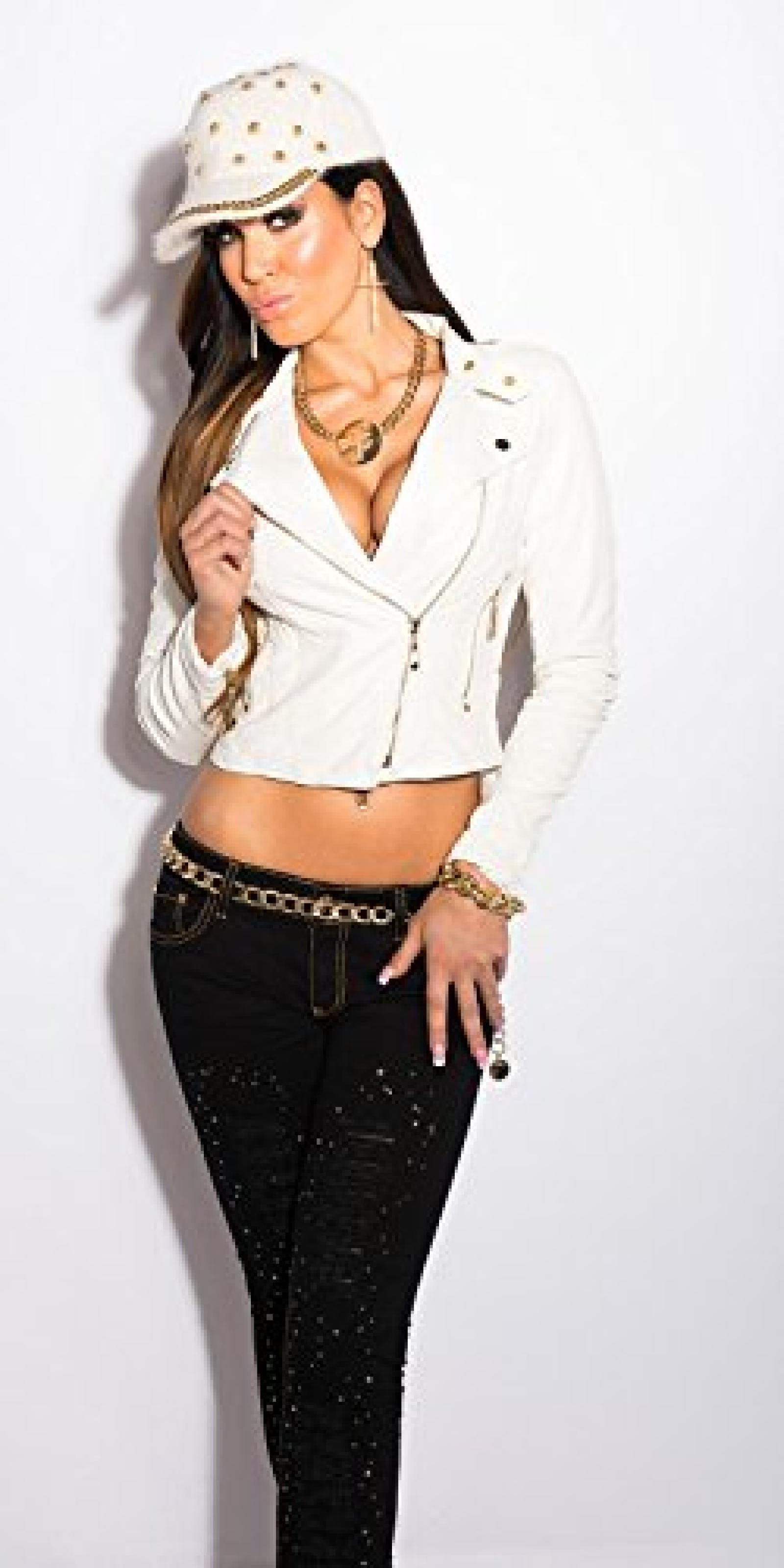 Sexy bikerjacket in leatherlook Koucla by In-Stylefashion SKU 0000LM161612 / Color: WHITE, Size: XL