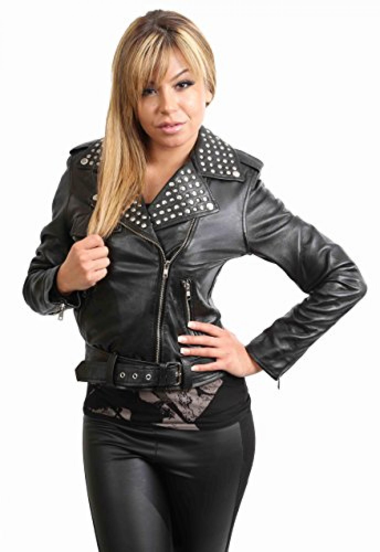 Damen Motorradfahrer Lederjacke neuen Biker Jacke SALLY Schwarz