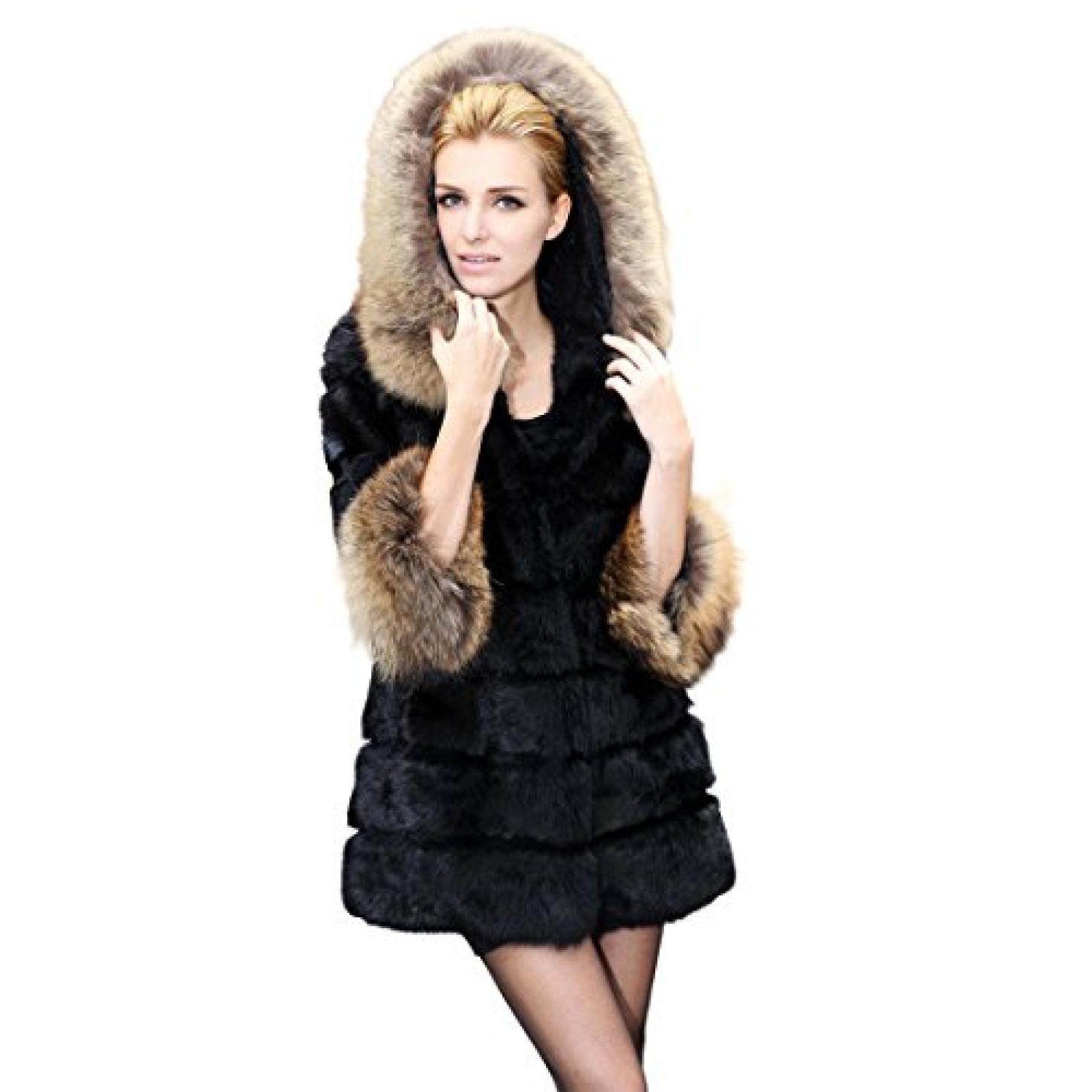 Imixlot Frauen Mittel Lang Rabbit Fur Coat Hoodie Jacke mit Kapuze Weste/Vest Oberbekleidung