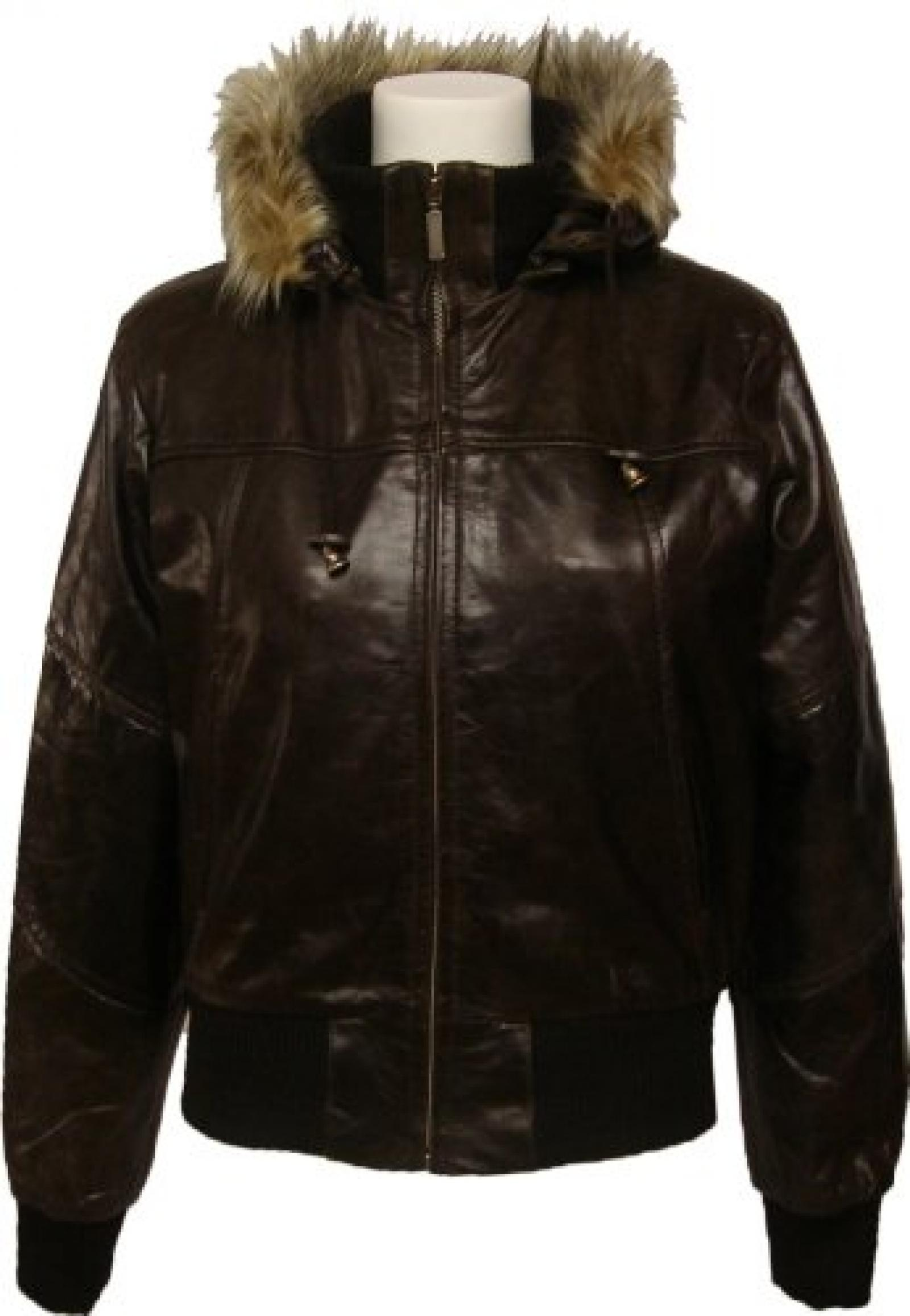 UNICORN Frauen Echt Leder Jacke Bomber Mit Fell Kragen Braun #M2