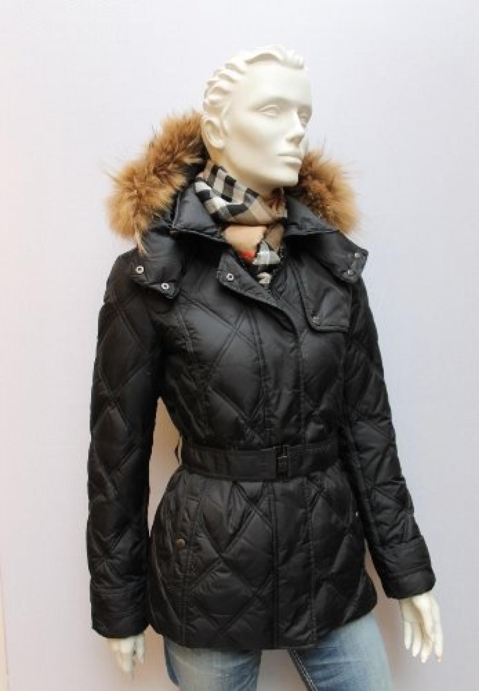 Damen Daunen Jacke mit Fellkapuze, von 313 - TRE UNO TRE, schwarz