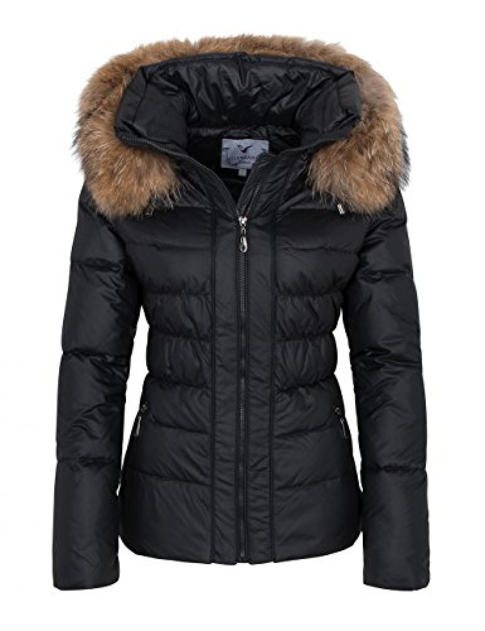 811A209 Damen Winterjacke Jacke DAUNENJACKE mit Echtfell Echtfellkapuze schwarz HERBST/WINTER 2015