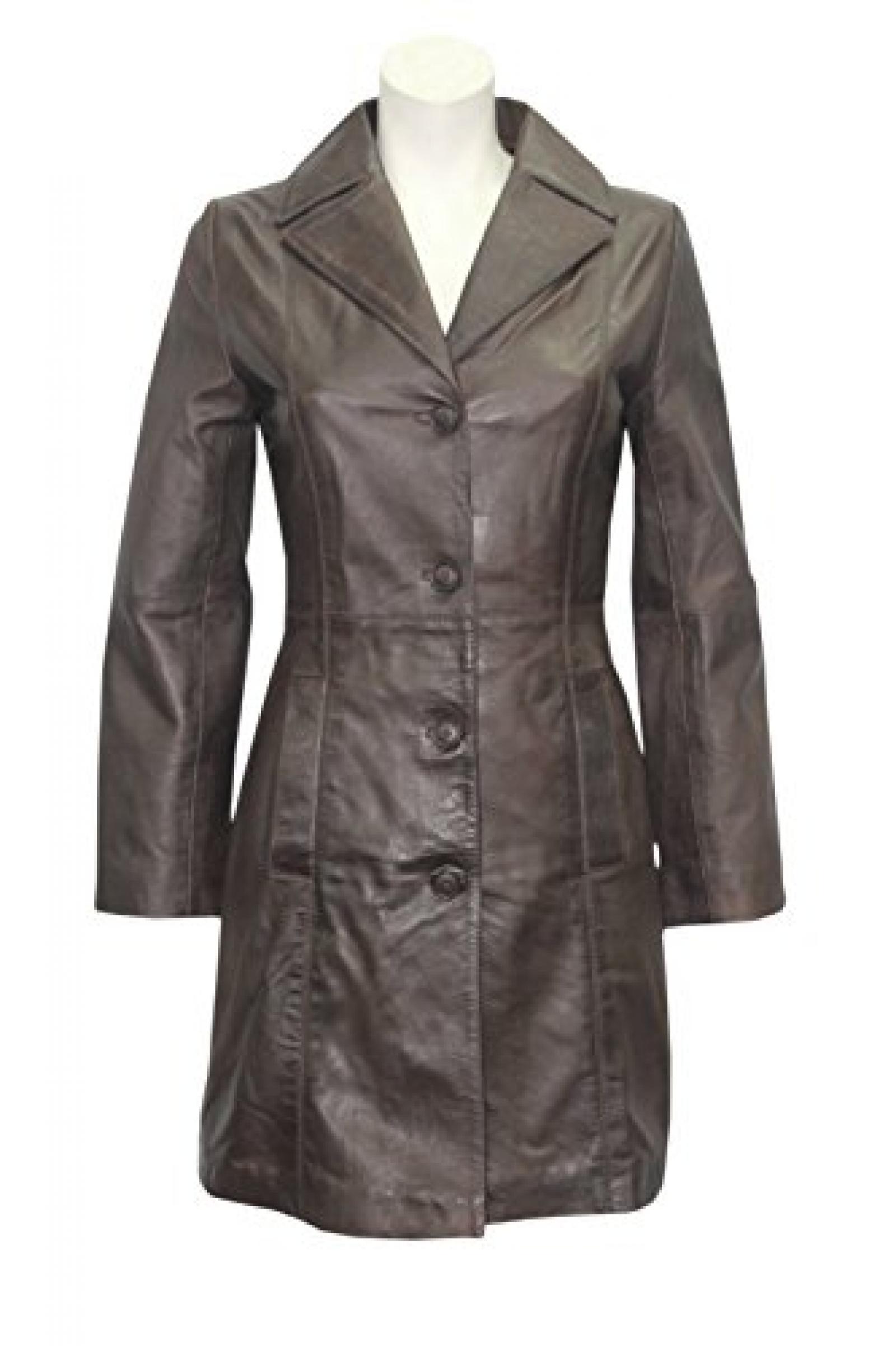 3457 CLAIRE Damenmode Einbau BROWN knielange Echtlederjacke -Mantel