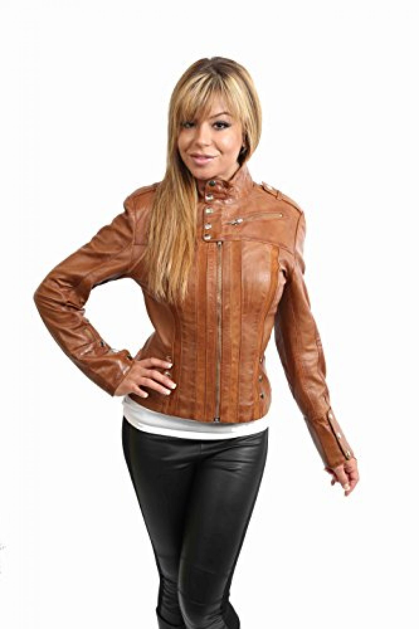 Damen Motorradfahrer Lederjacke neuen Biker Jacke Jenny Hell Braun