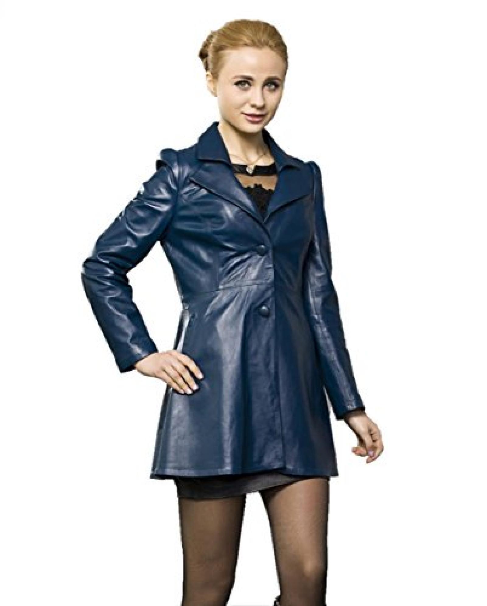 E-Girl Custom Fit Lady Schafspelz, echtem Leder Deman Jacken & Mäntel ,Blau