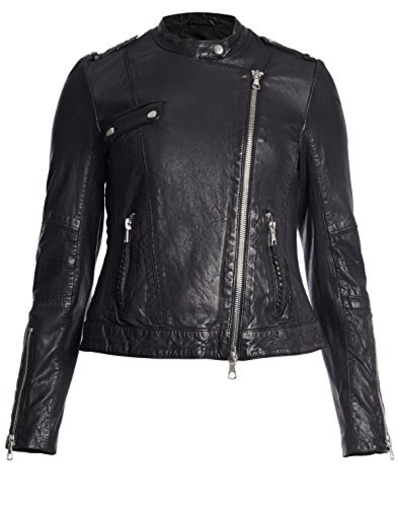 Lederjacke von Set mit Brusttasche - schwarz