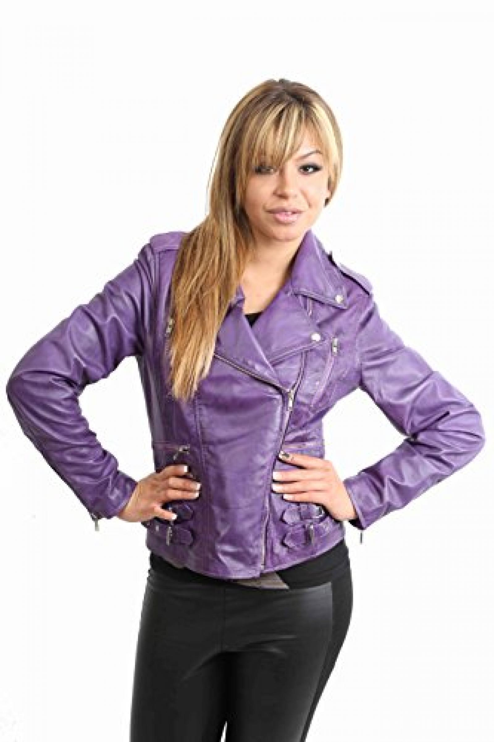 Damen Lederjacke neuste Mode-Stil 7113 Lila