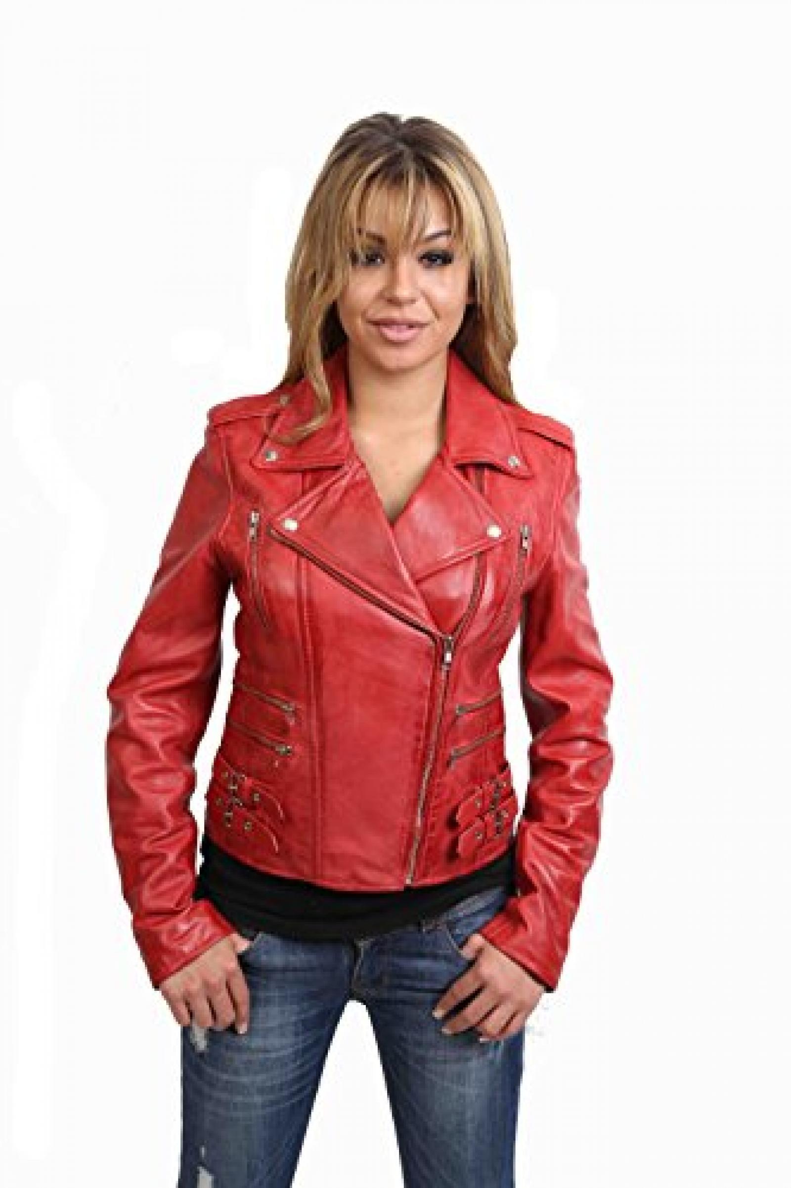 Damen Lederjacke neuste Mode-Stil 7113 Rot