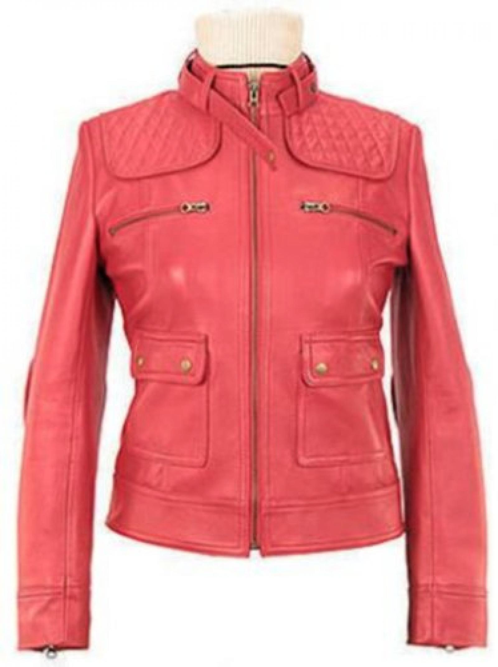 Alpakaandmore Pink Lamm nappa Lederjacke handgefertigt, Motorradjacke QW151