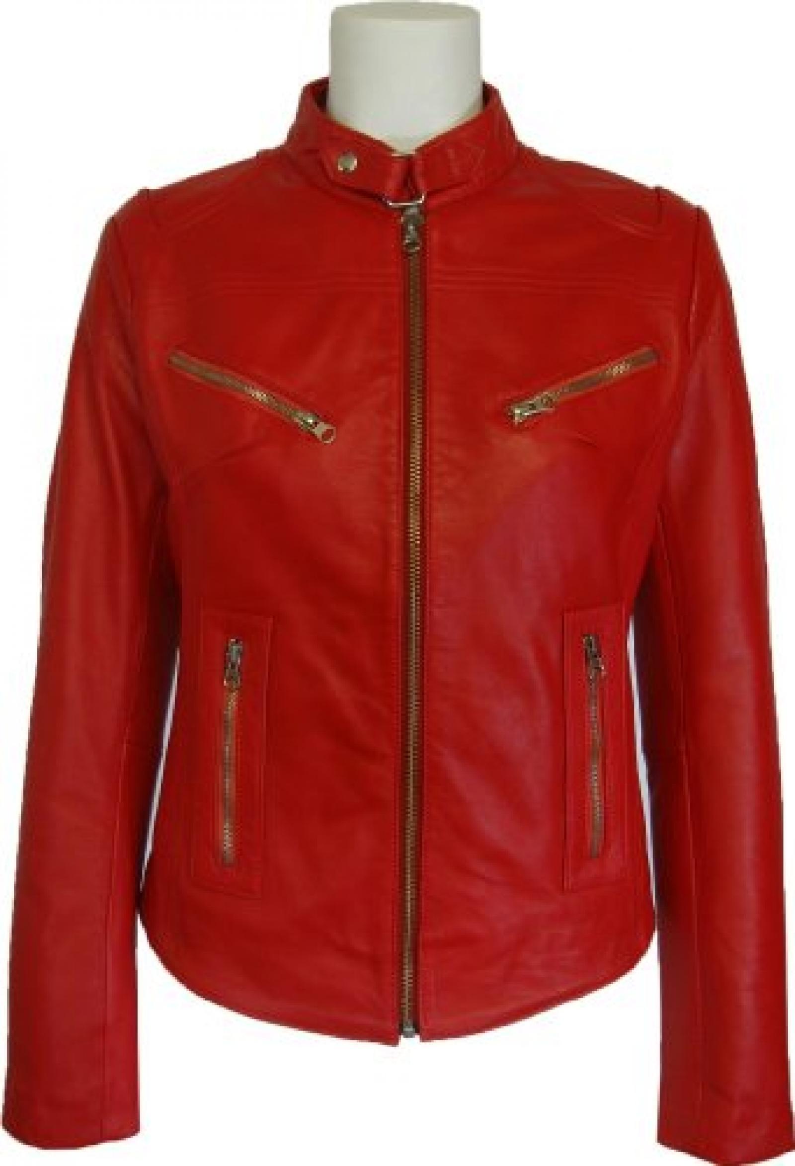 UNICORN Frauen Echt Leder Jacke Rot #Z2