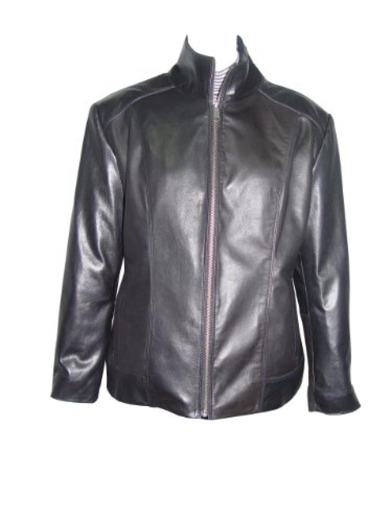 Nettailor Women 4198 Soft Leather New Casual Biker Jacket Zip Front China Collar