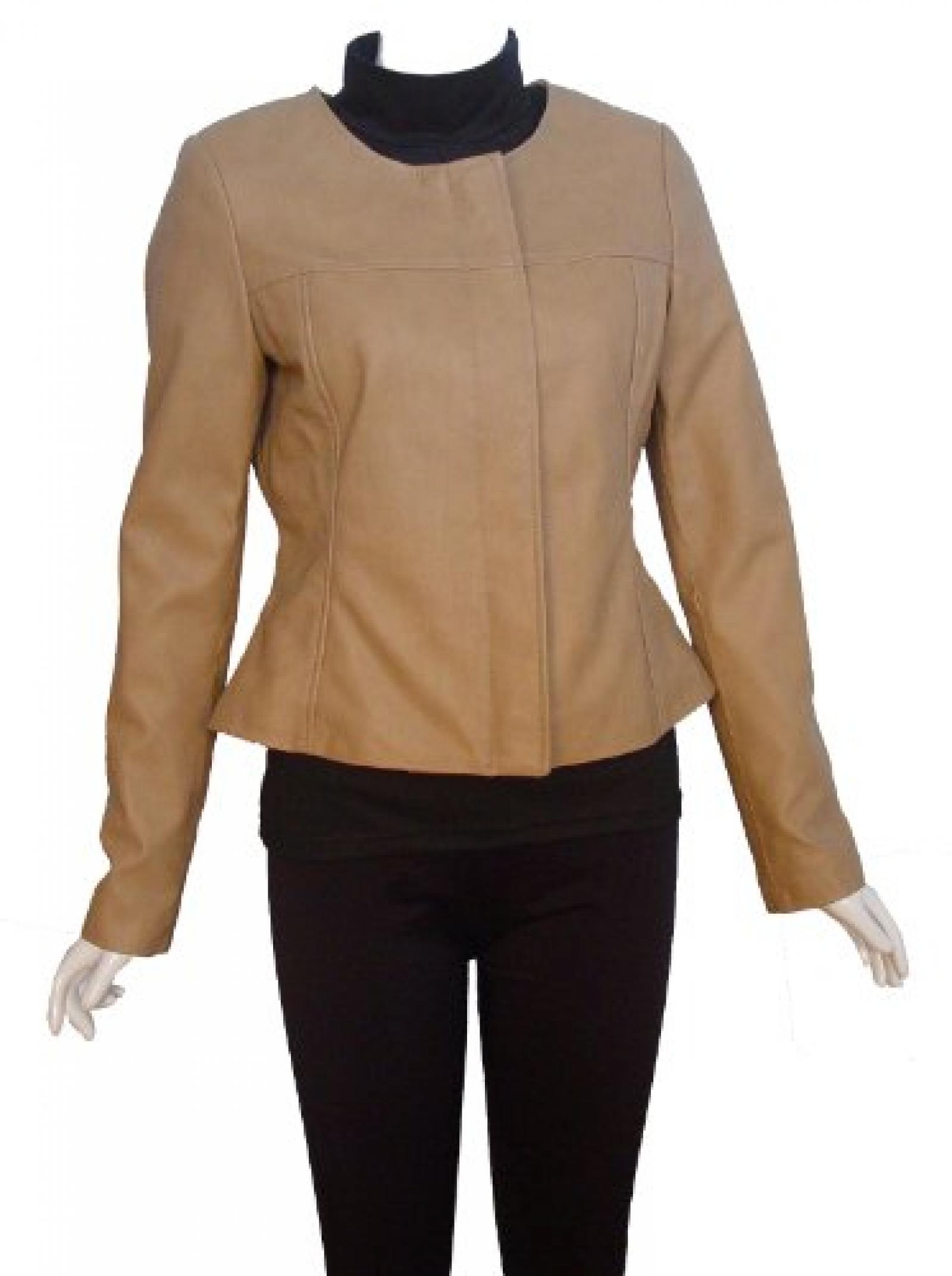 Nettailor FREE tailoring Women PLUS SIZE 4066 Leather Moto Jacket Collarless