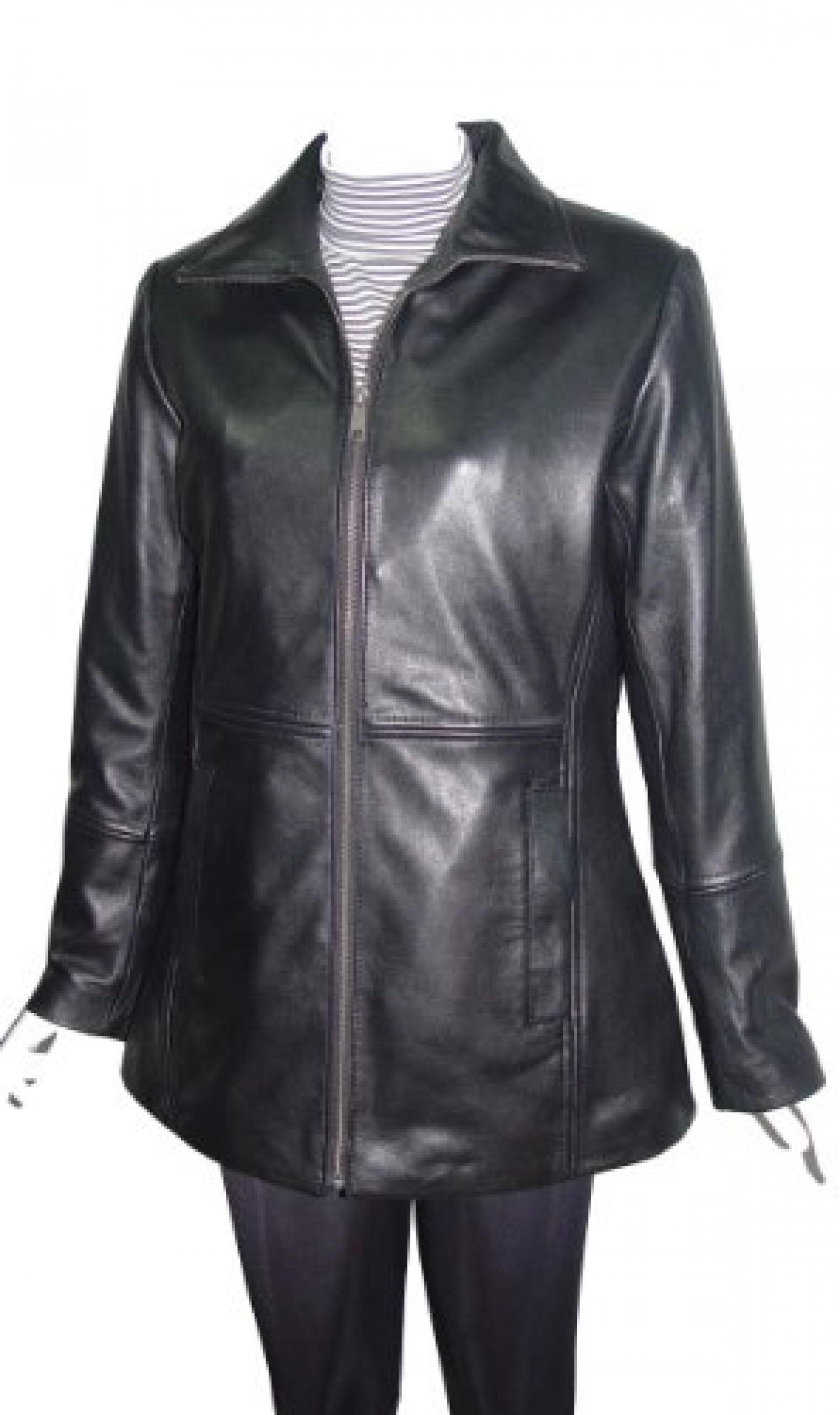 Nettailor Women PETITE SZ 4186 Soft Leather Simple Easy Casual Long Jacket